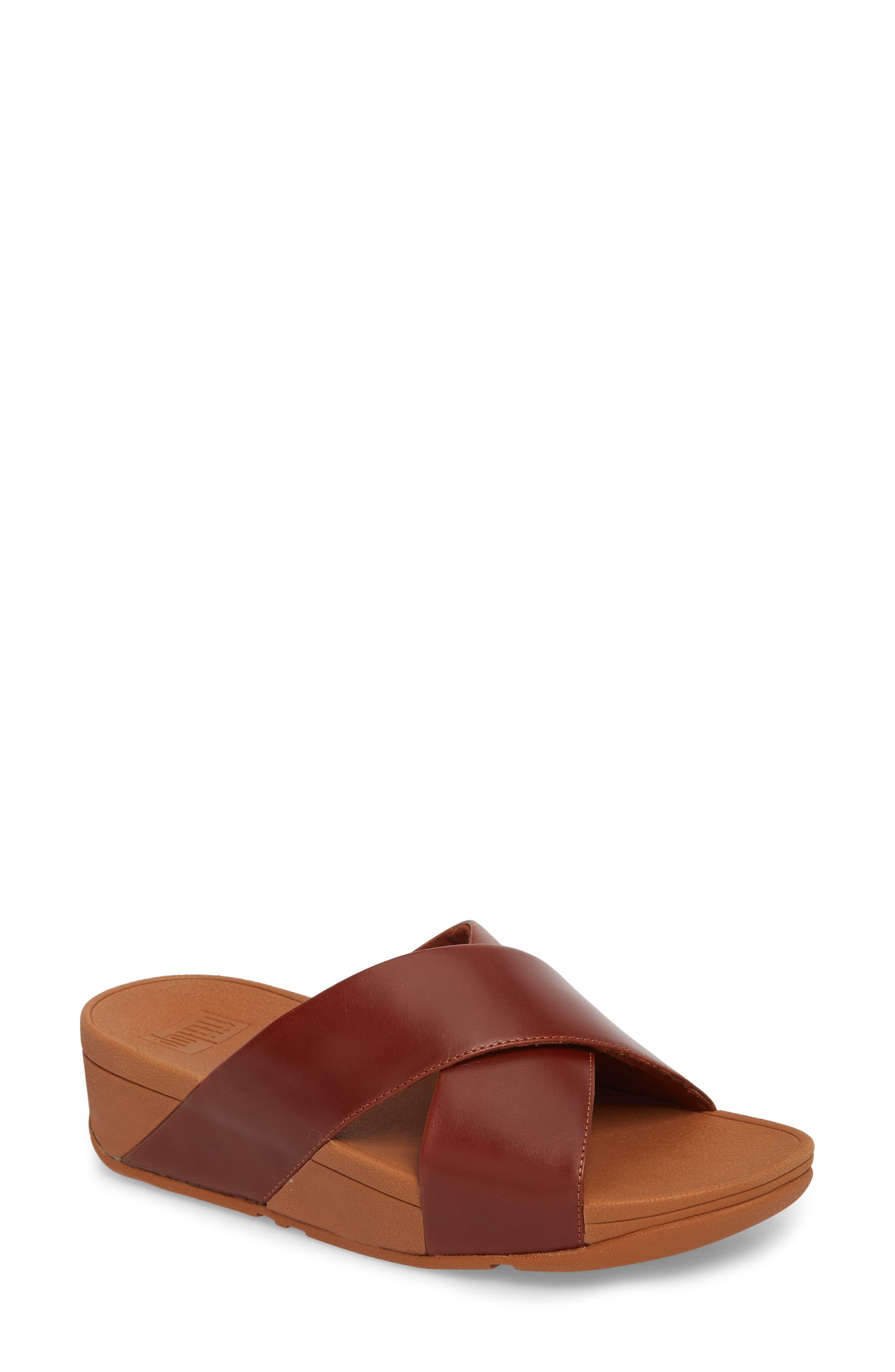 Lulu Cross Slide Sandal,                             Main thumbnail 1, color,                             Cognac