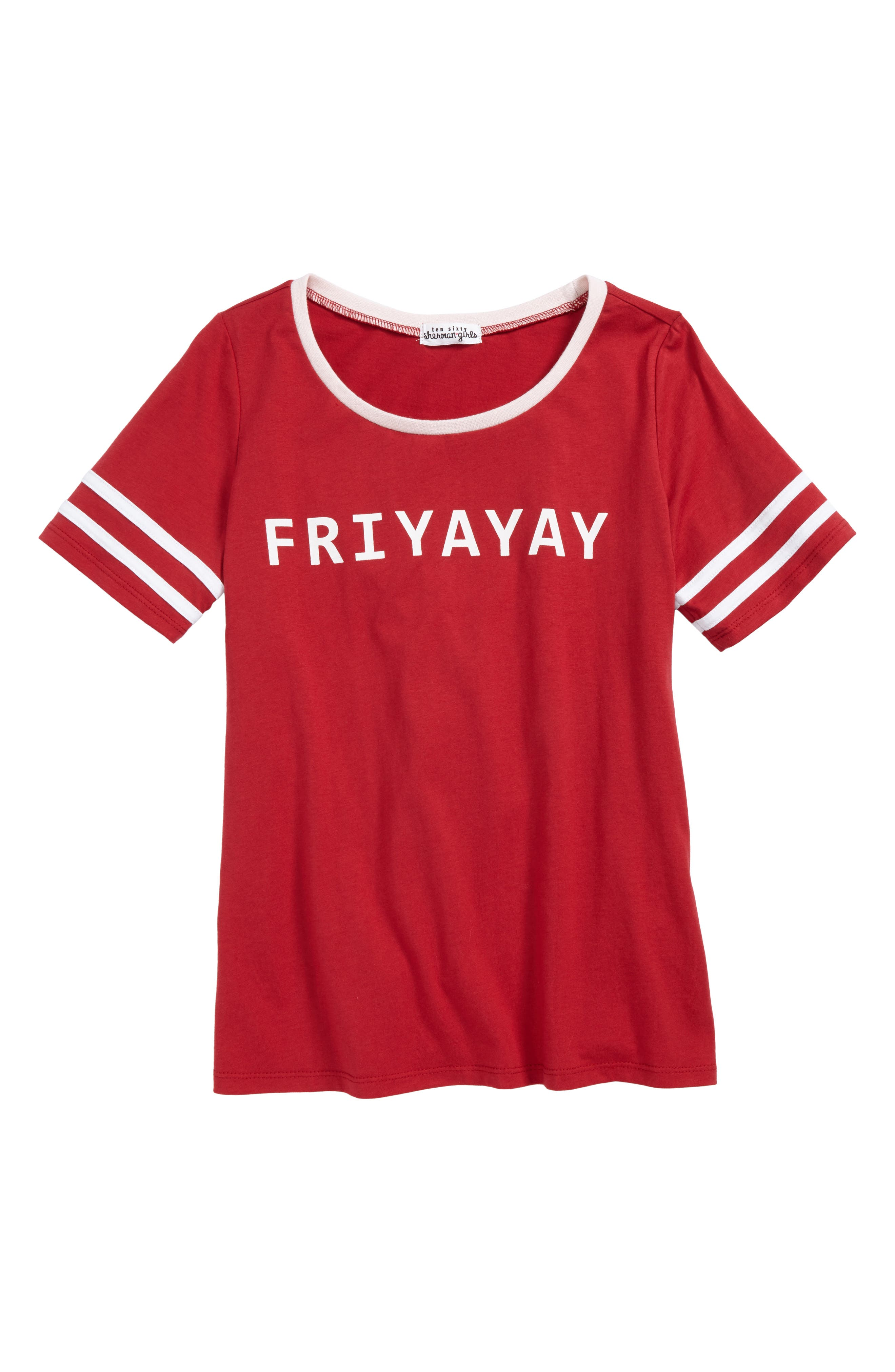 Graphic Ringer Tee,                         Main,                         color, Red/ White/ Pink