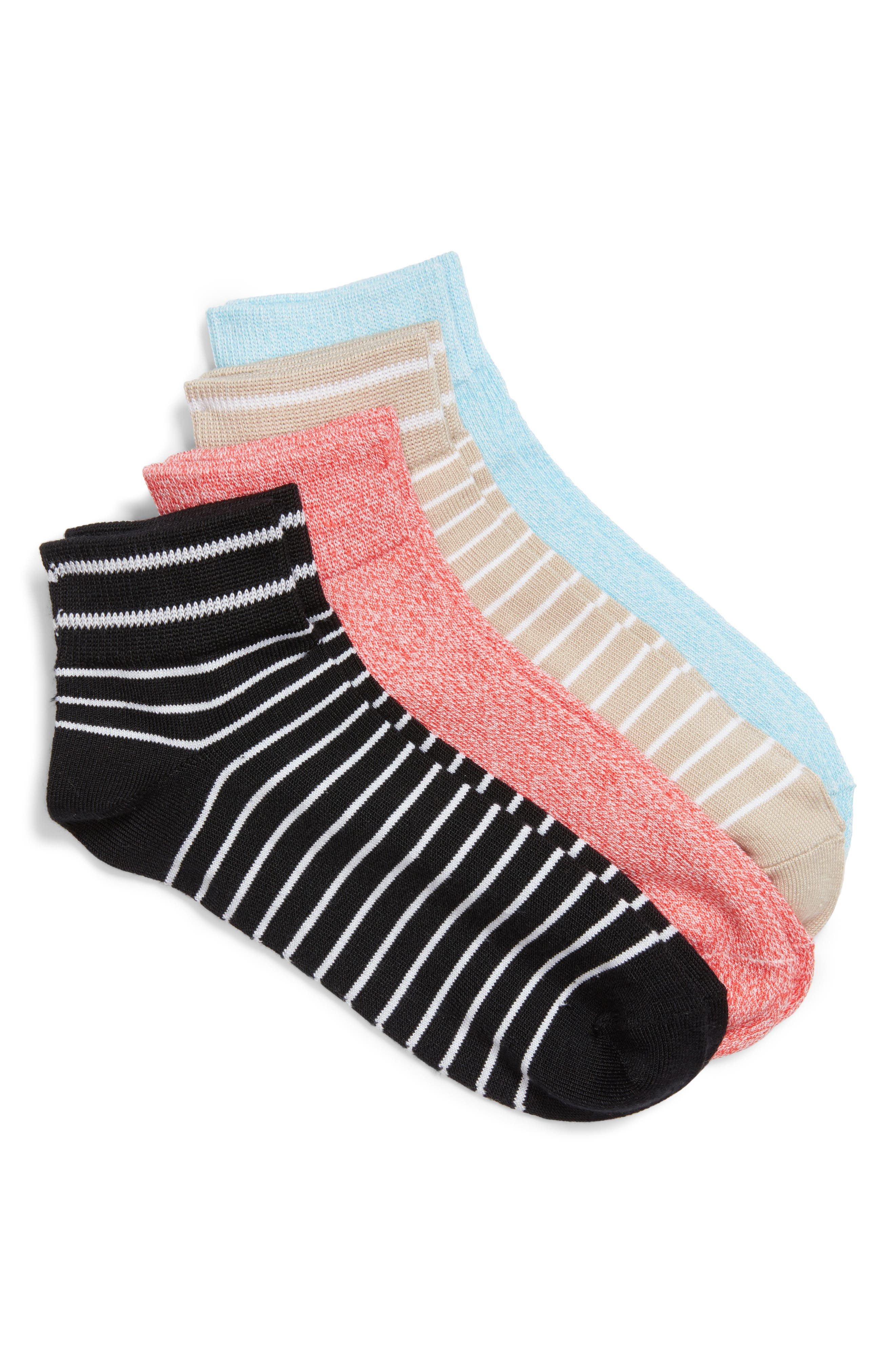 4-Pack Ankle Socks,                         Main,                         color, Coral Bliss Pack