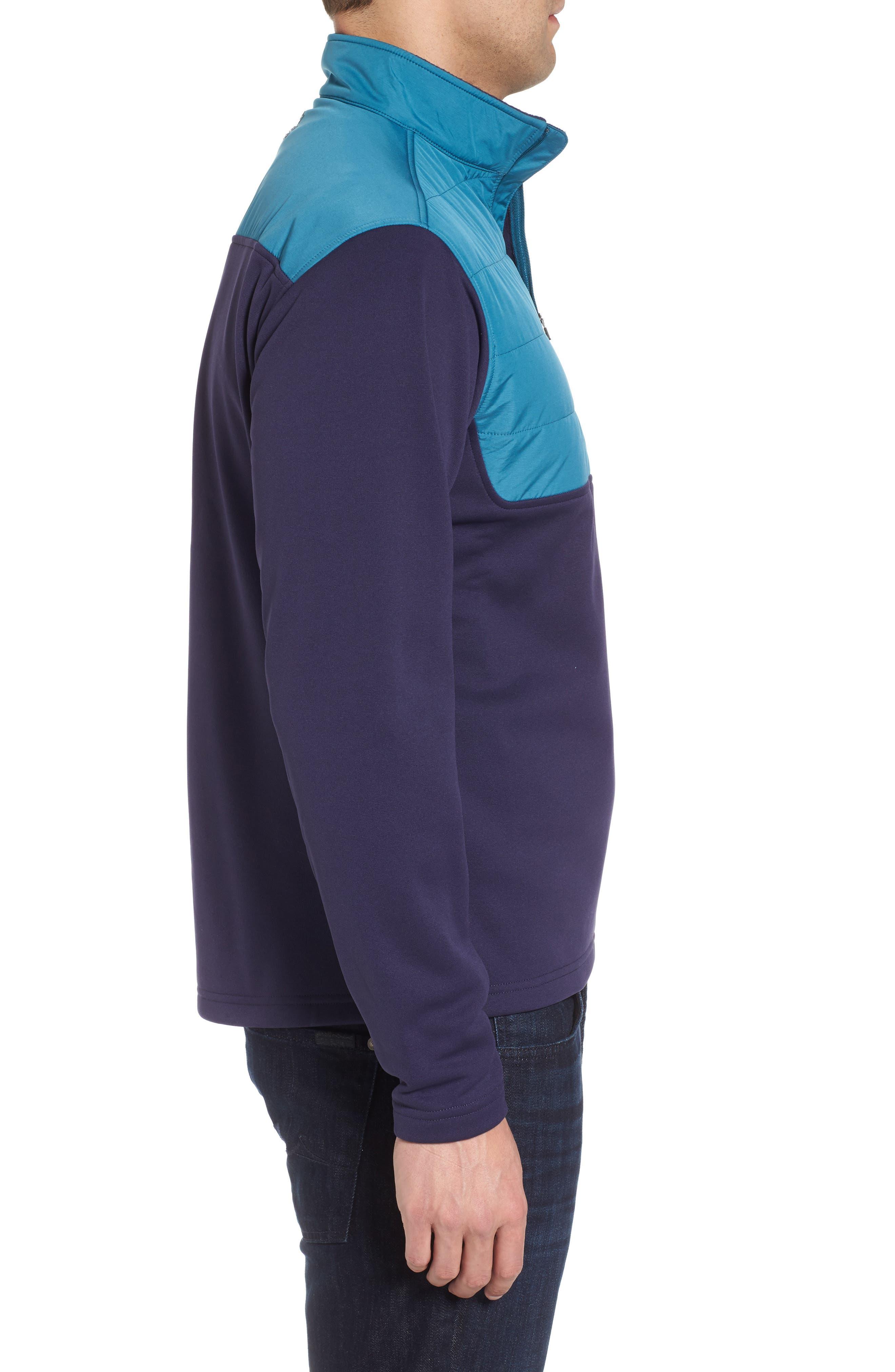 Sheffield Hybrid Half Zip Pullover,                             Alternate thumbnail 3, color,                             Yankee Blue