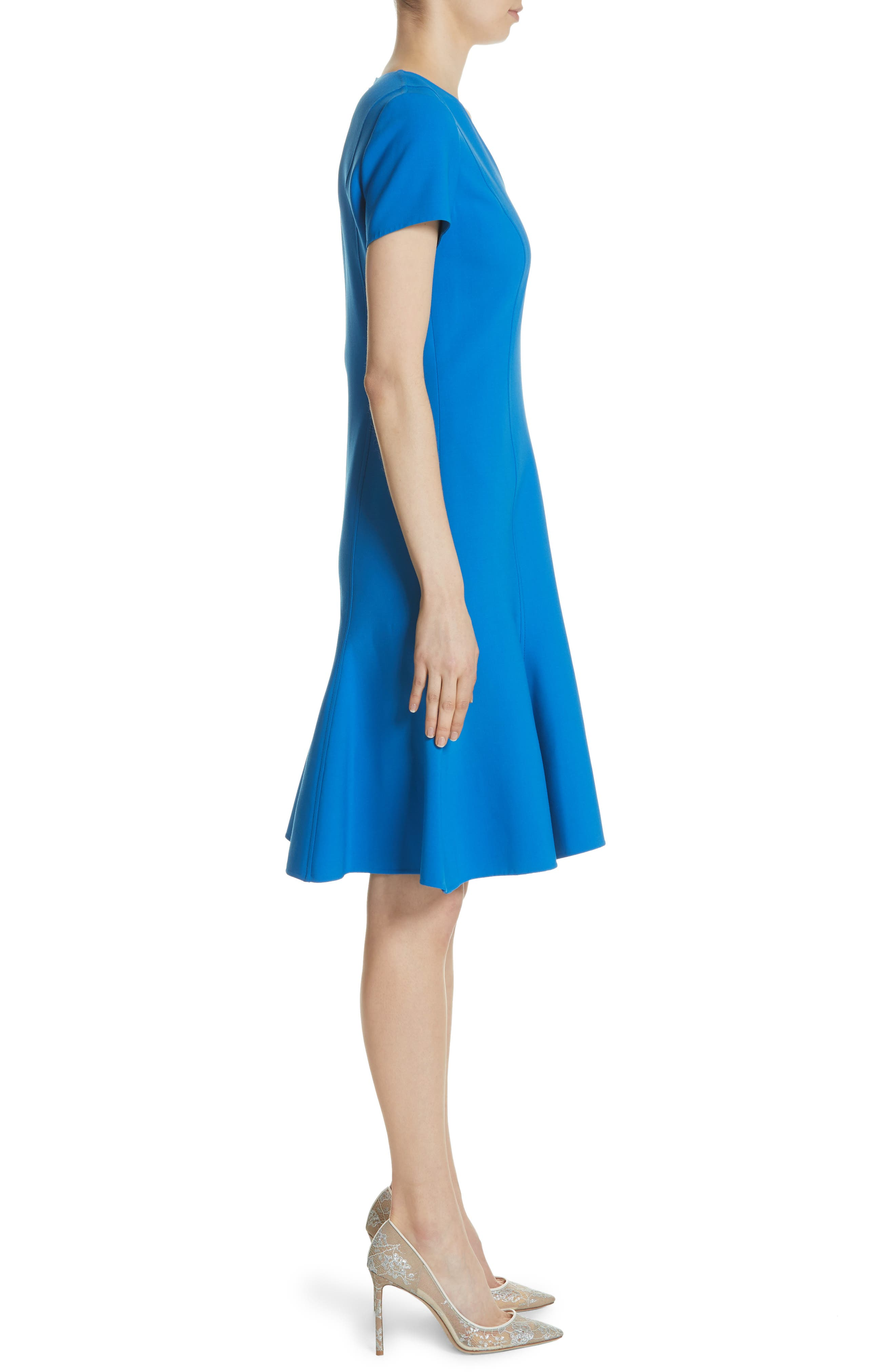 Flutter Hem Wool Blend Sheath Dress,                             Alternate thumbnail 3, color,                             Cobalt