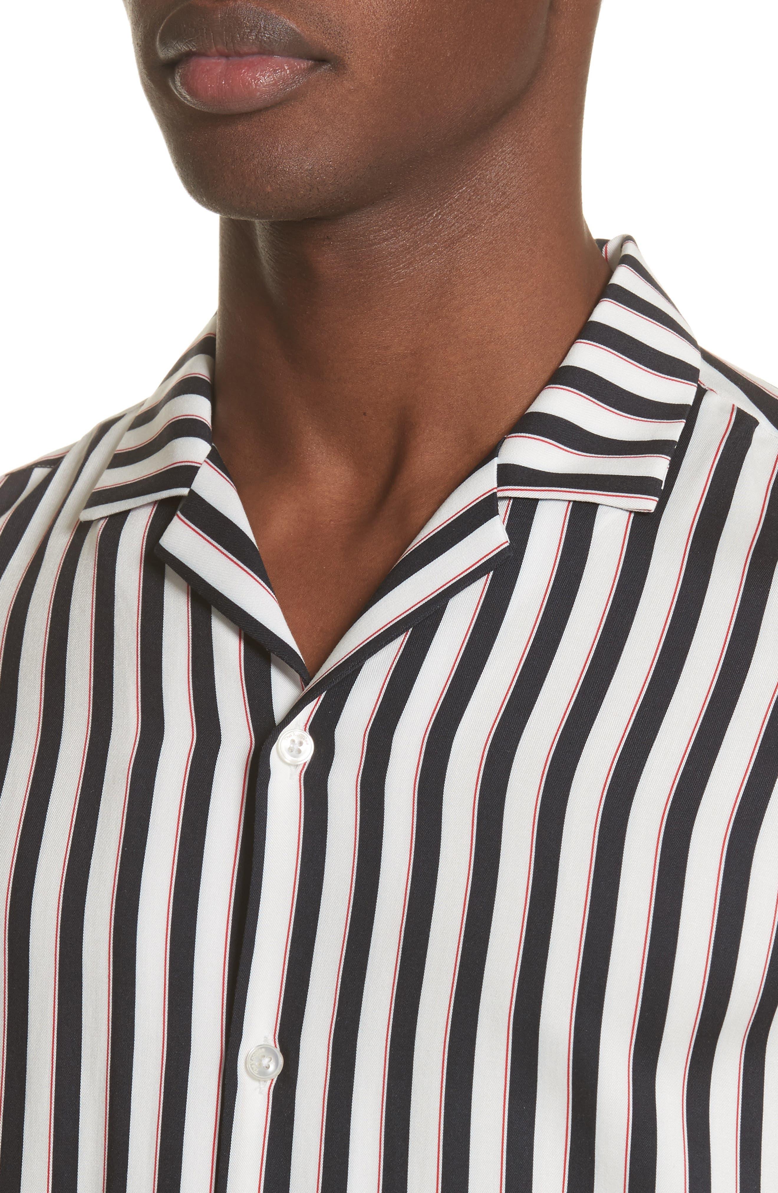 Stripe Camp Shirt,                             Alternate thumbnail 2, color,                             Whi 09