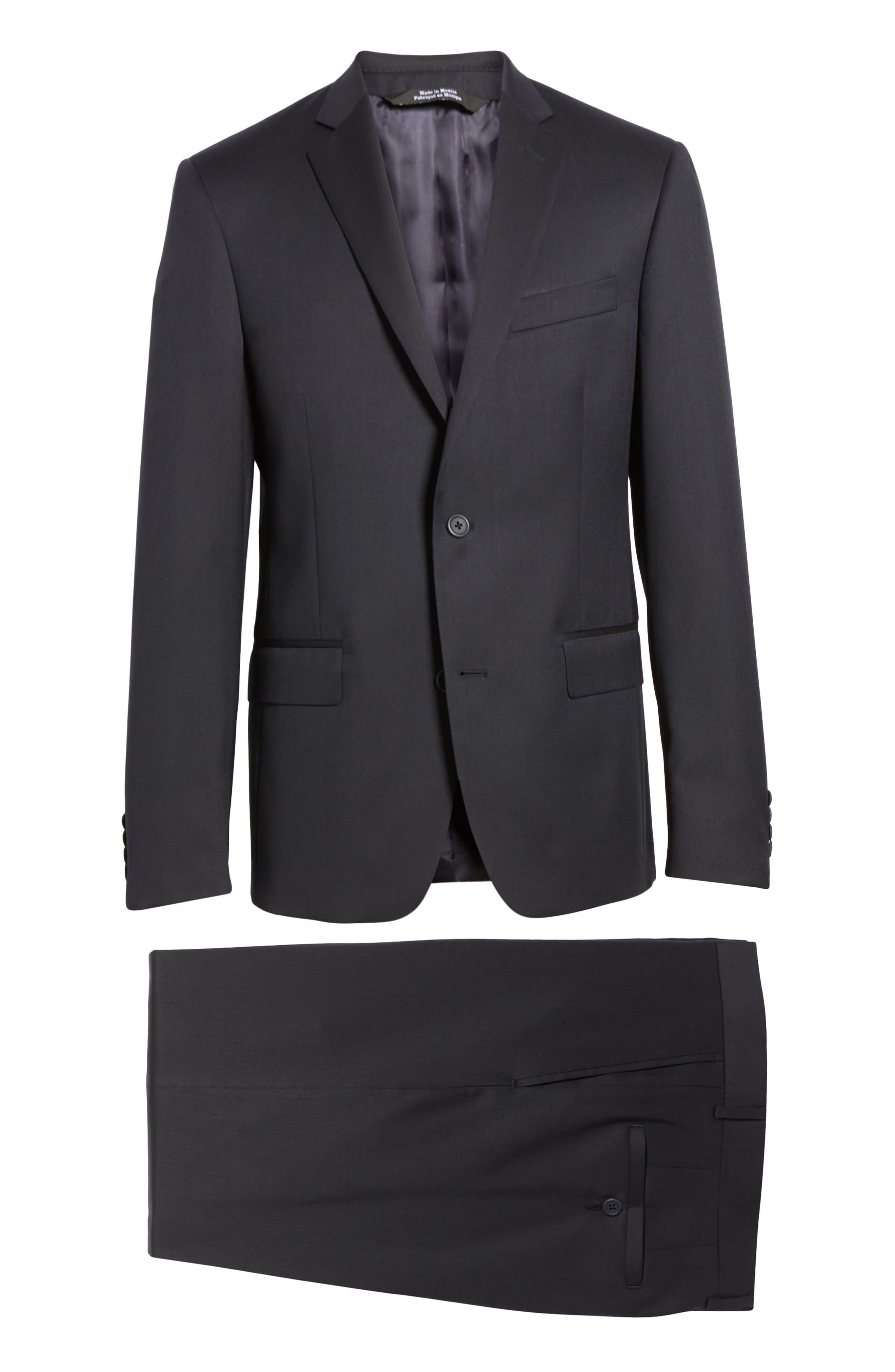 Trim Fit Solid Wool Suit,                             Alternate thumbnail 8, color,                             Navy