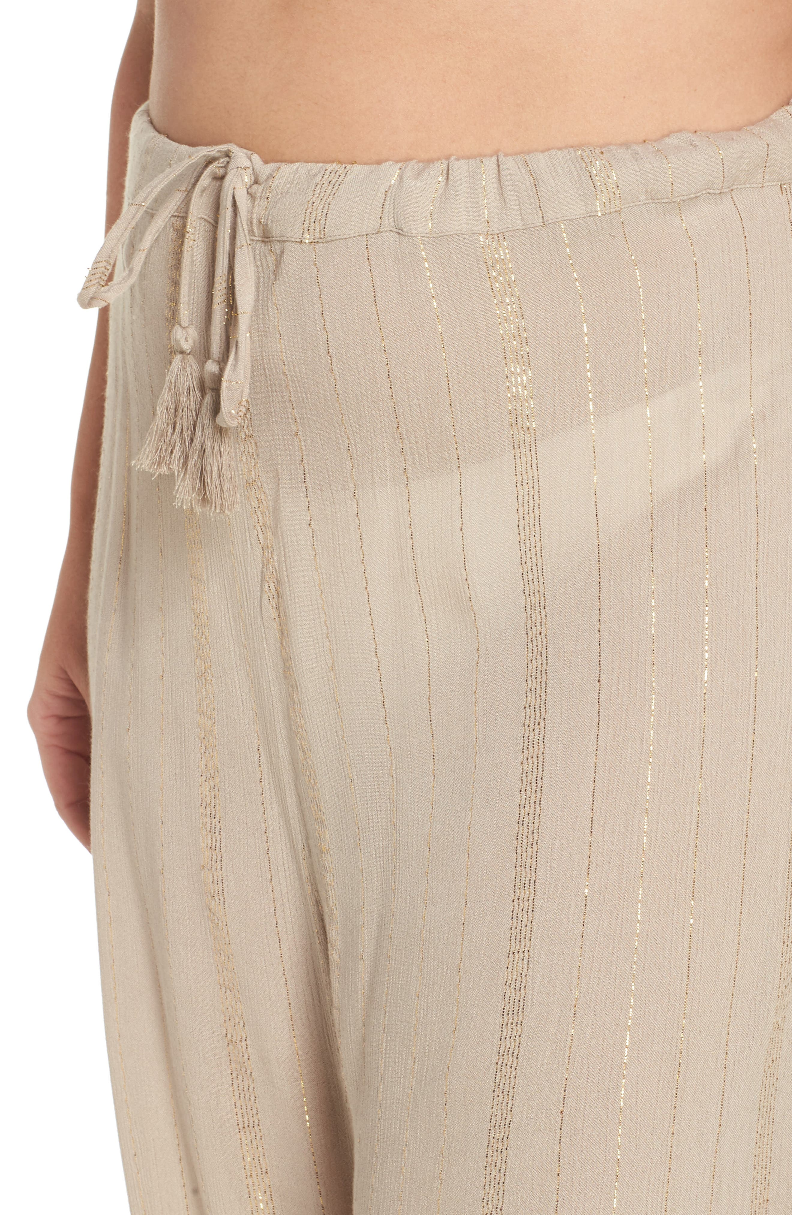 Iris Cover-Up Pants,                             Alternate thumbnail 4, color,                             Taupe/ Gold