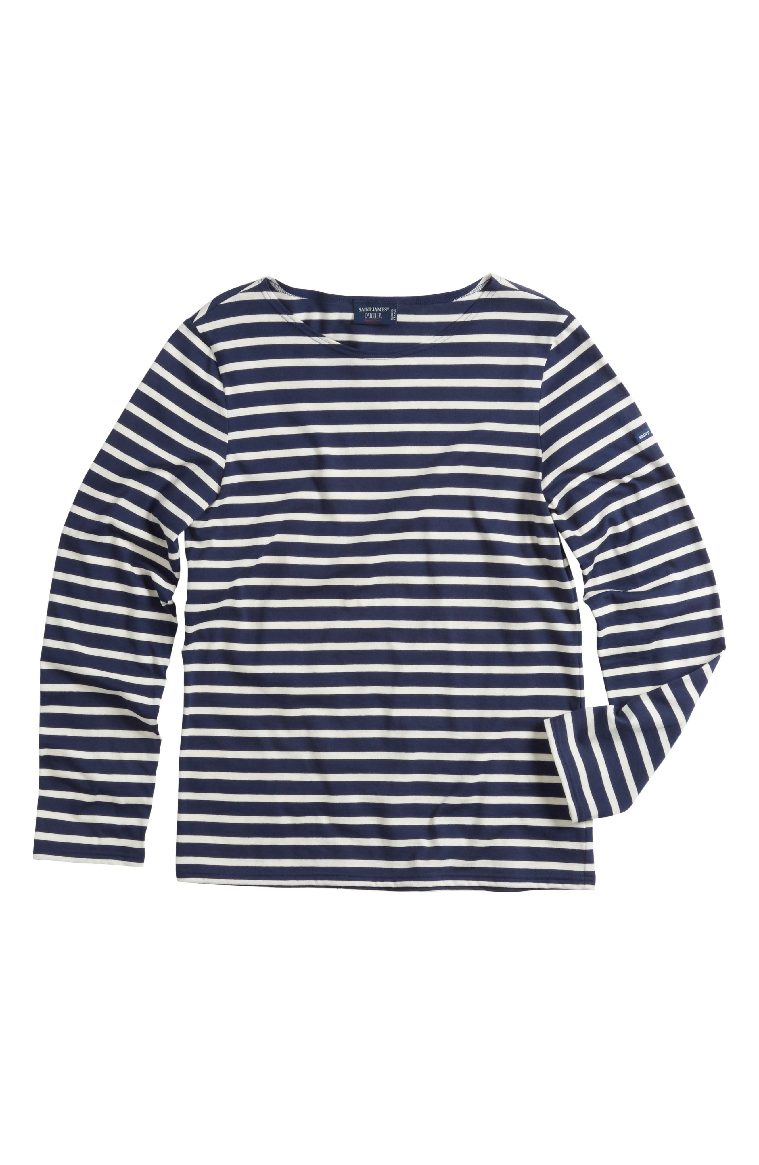 Minquiers Moderne Striped Sailor Shirt,                             Main thumbnail 1, color,                             Navy/ Off White