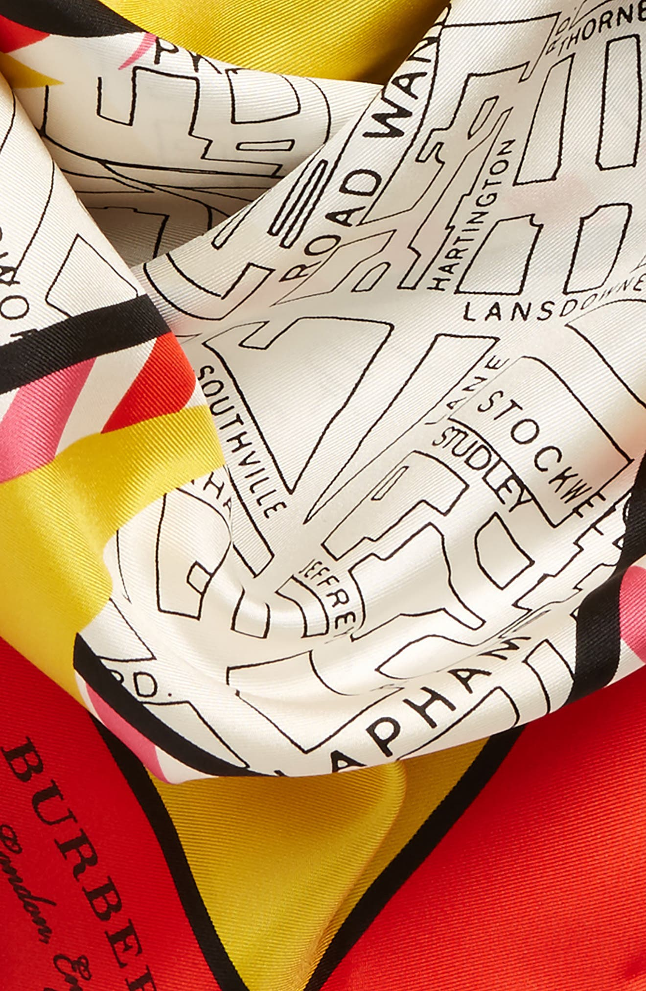 London Map Silk Square Scarf,                             Alternate thumbnail 3, color,                             Bright Yellow