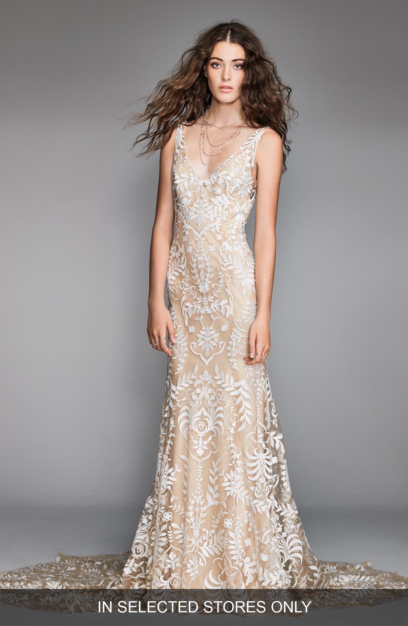 embroidered mermaid wedding dress