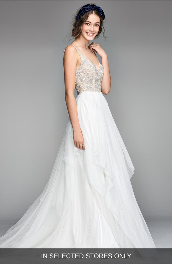 Willowby nova beaded bodice tulle gown nordstrom for Storing your wedding dress
