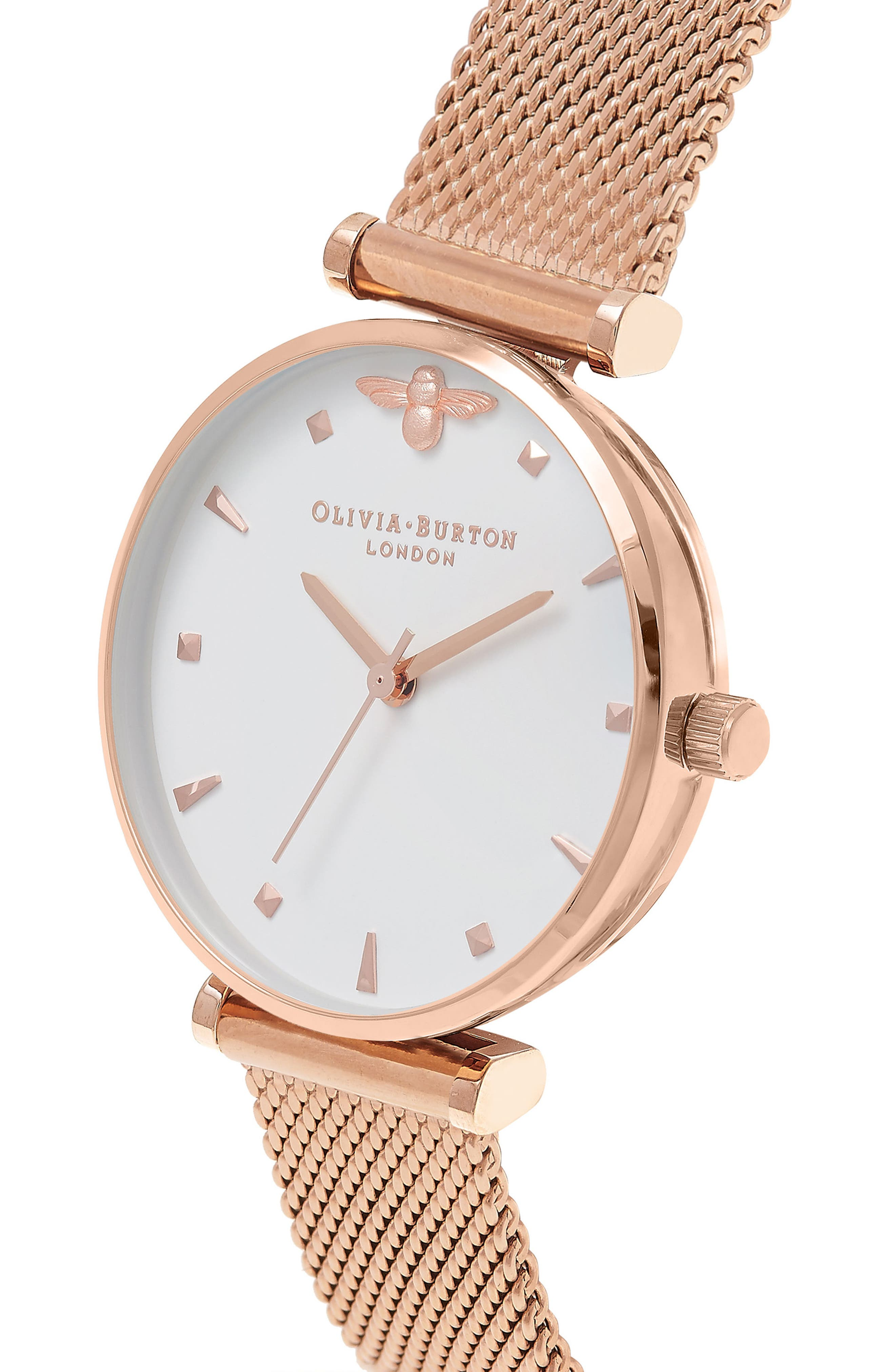 Queen Bee Mesh Strap Watch, 30mm,                             Alternate thumbnail 2, color,                             Rose Gold/ White/ Rose Gold