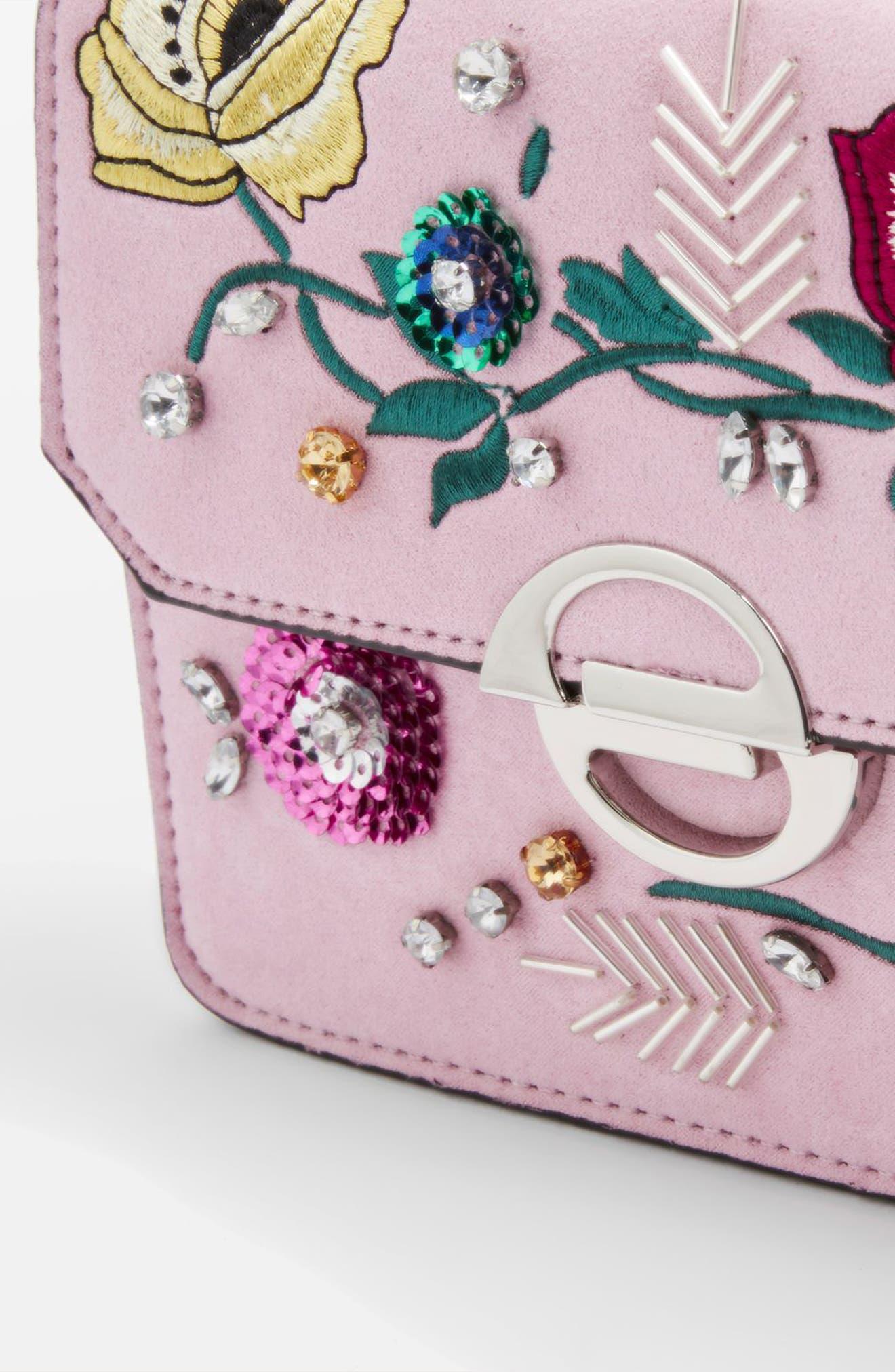 Embellished Faux Suede Crossbody Bag,                             Alternate thumbnail 3, color,                             Pink Multi