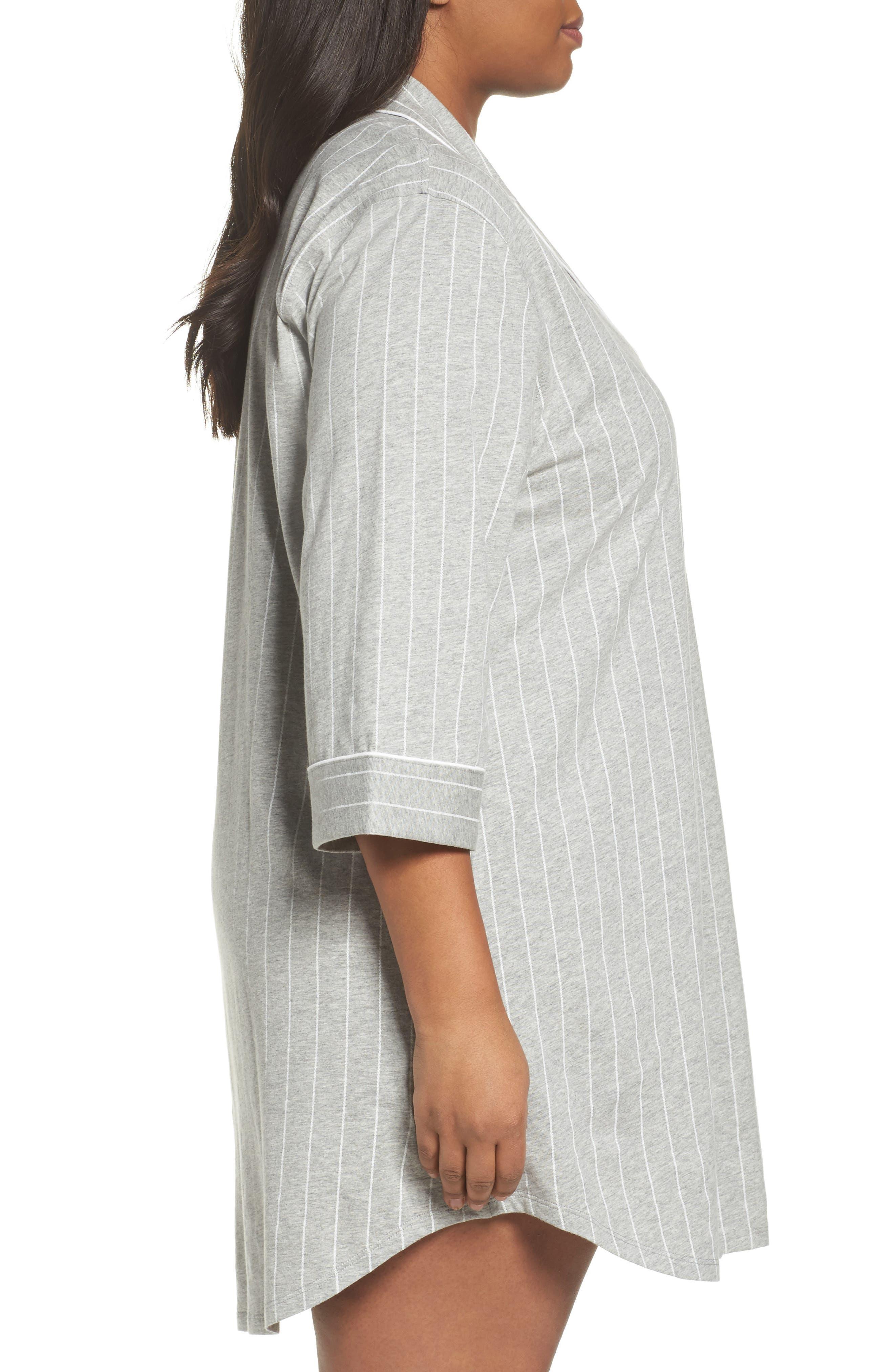 Knit Jersey Sleep Shirt,                             Alternate thumbnail 3, color,                             Greystone