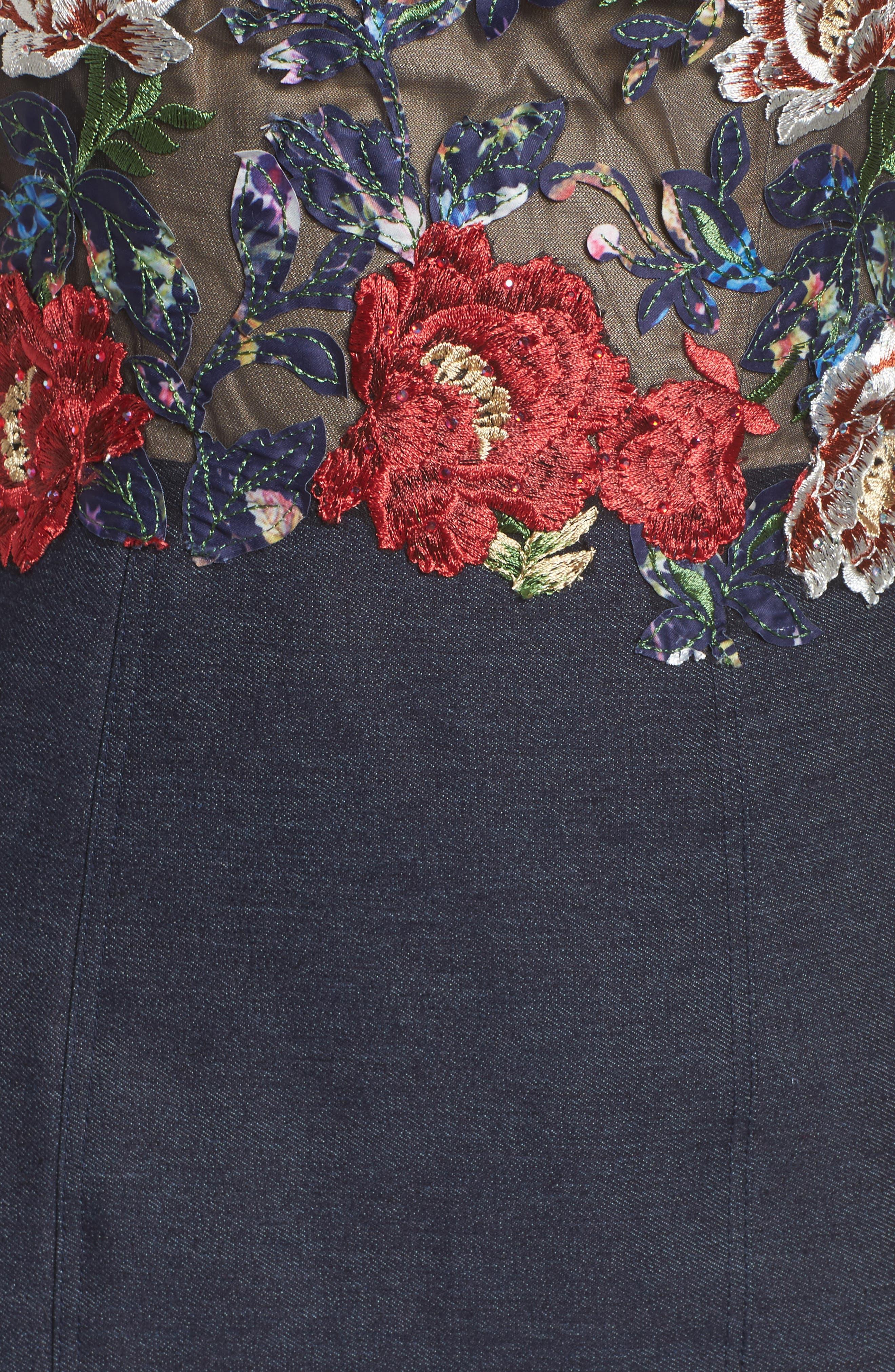 Embroidered Denim Mermaid Gown,                             Alternate thumbnail 5, color,                             Dark Wash