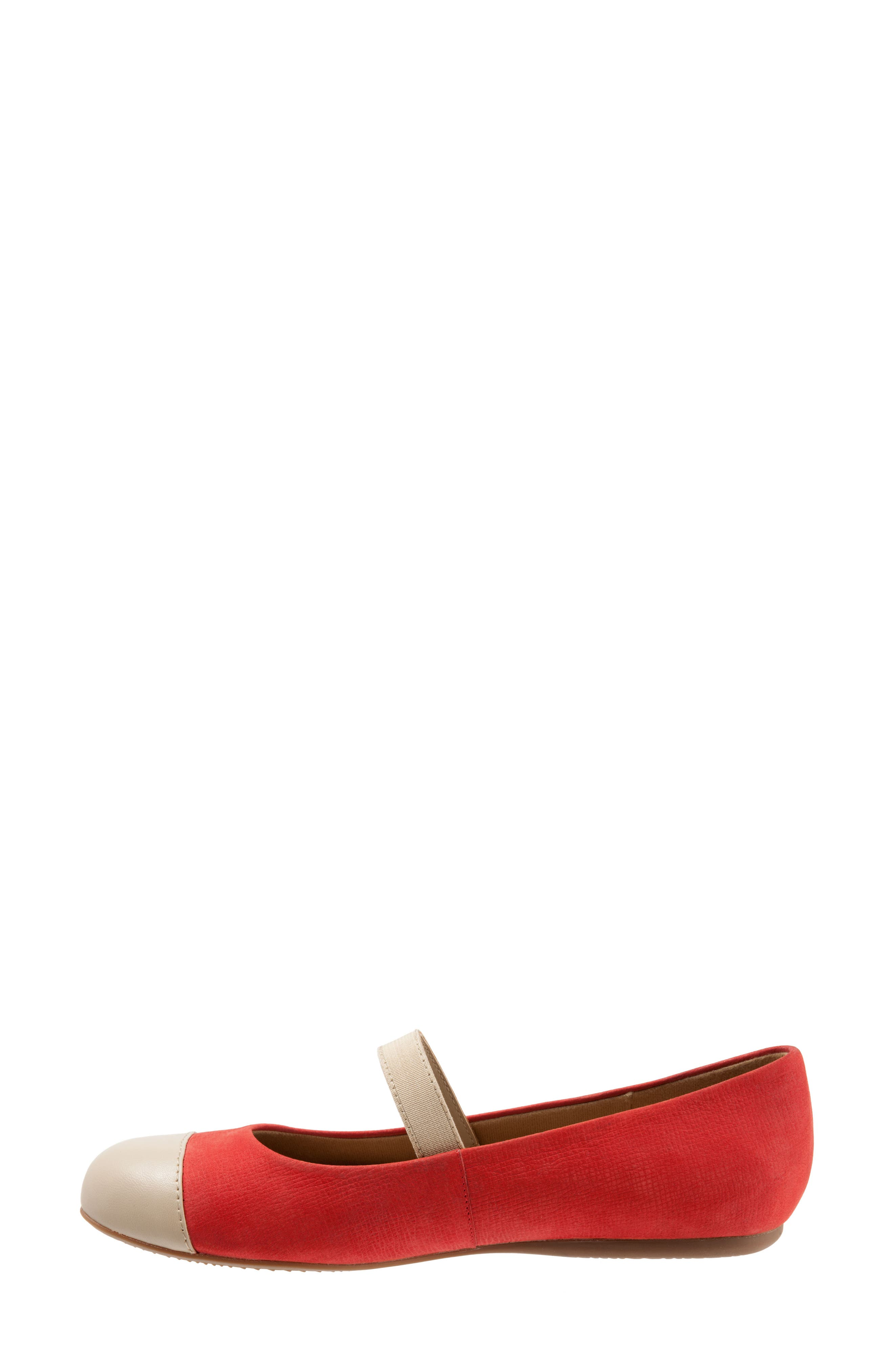 Napa Mary Jane Flat,                             Alternate thumbnail 4, color,                             Red/ Nude Leather