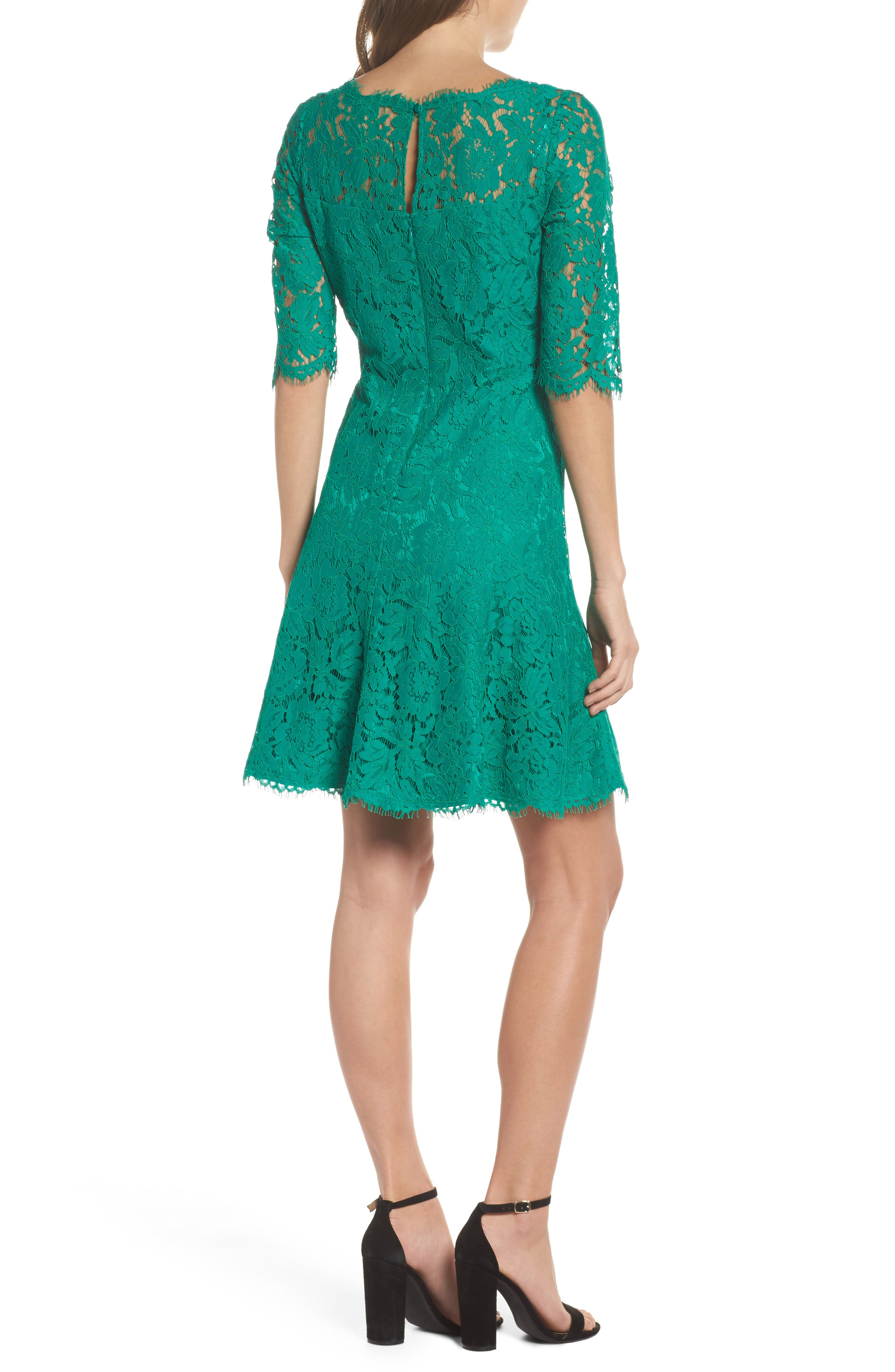 Lace Fit & Flare Dress,                             Alternate thumbnail 2, color,                             Green