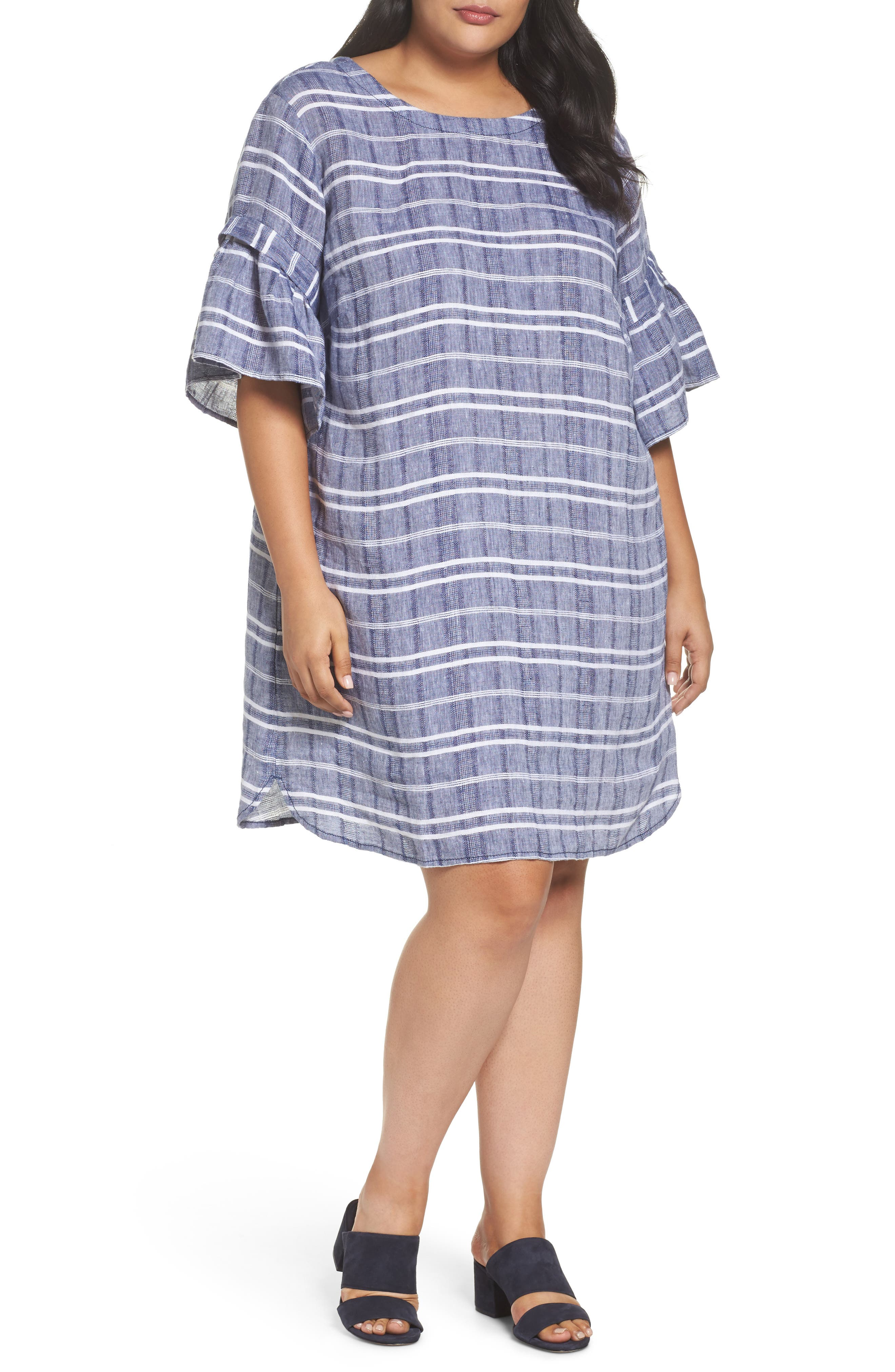 Tie Back Linen Dress,                         Main,                         color, Navy- White Plaid