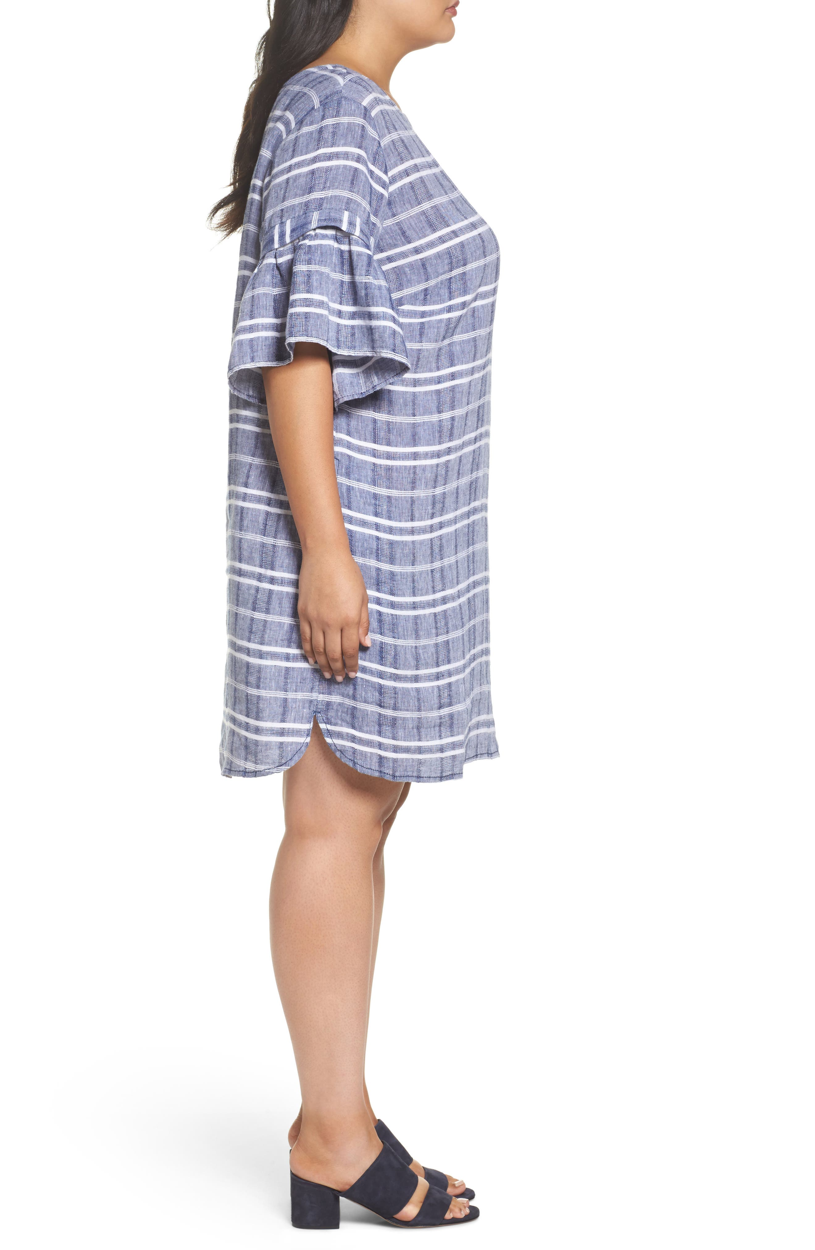 Tie Back Linen Dress,                             Alternate thumbnail 3, color,                             Navy- White Plaid