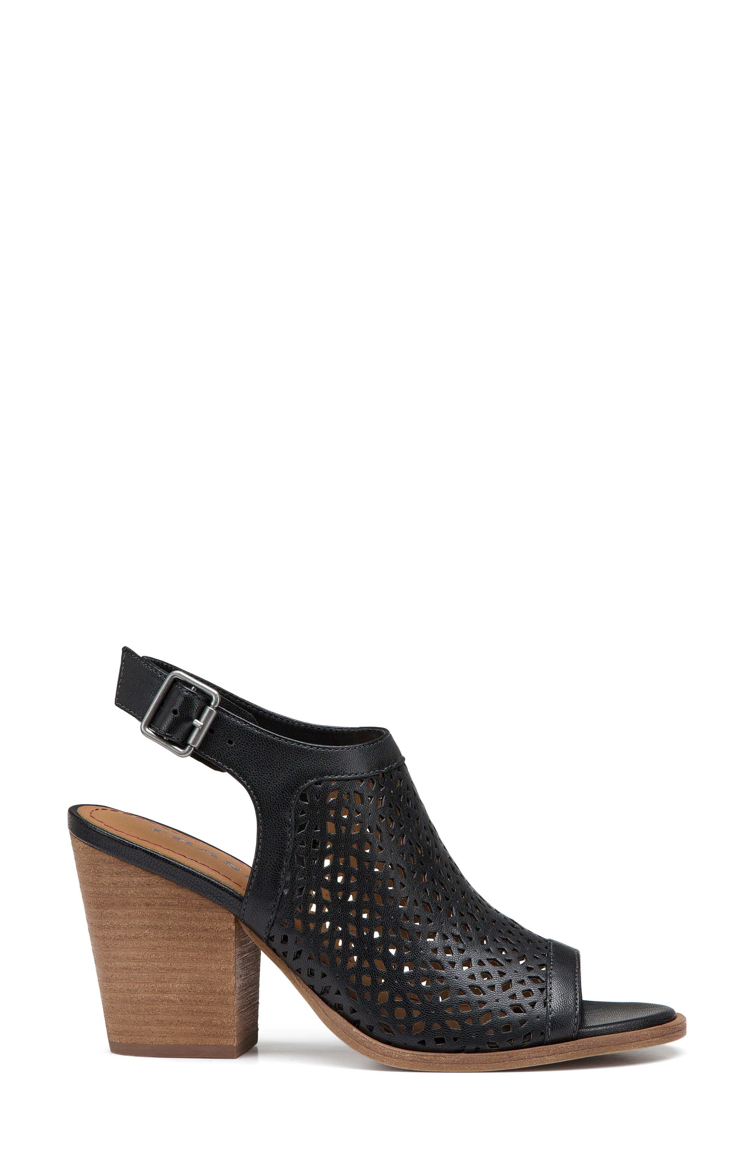 Parker Slingback Sandal,                             Alternate thumbnail 3, color,                             Black Leather