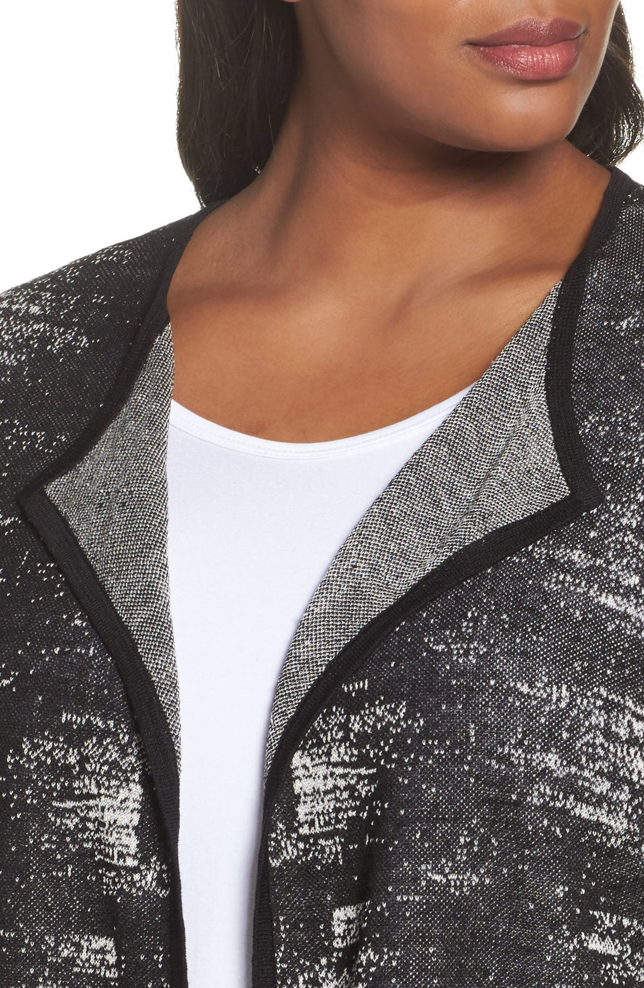 Organic Linen Blend Cardigan,                             Alternate thumbnail 4, color,                             Black/ Bone