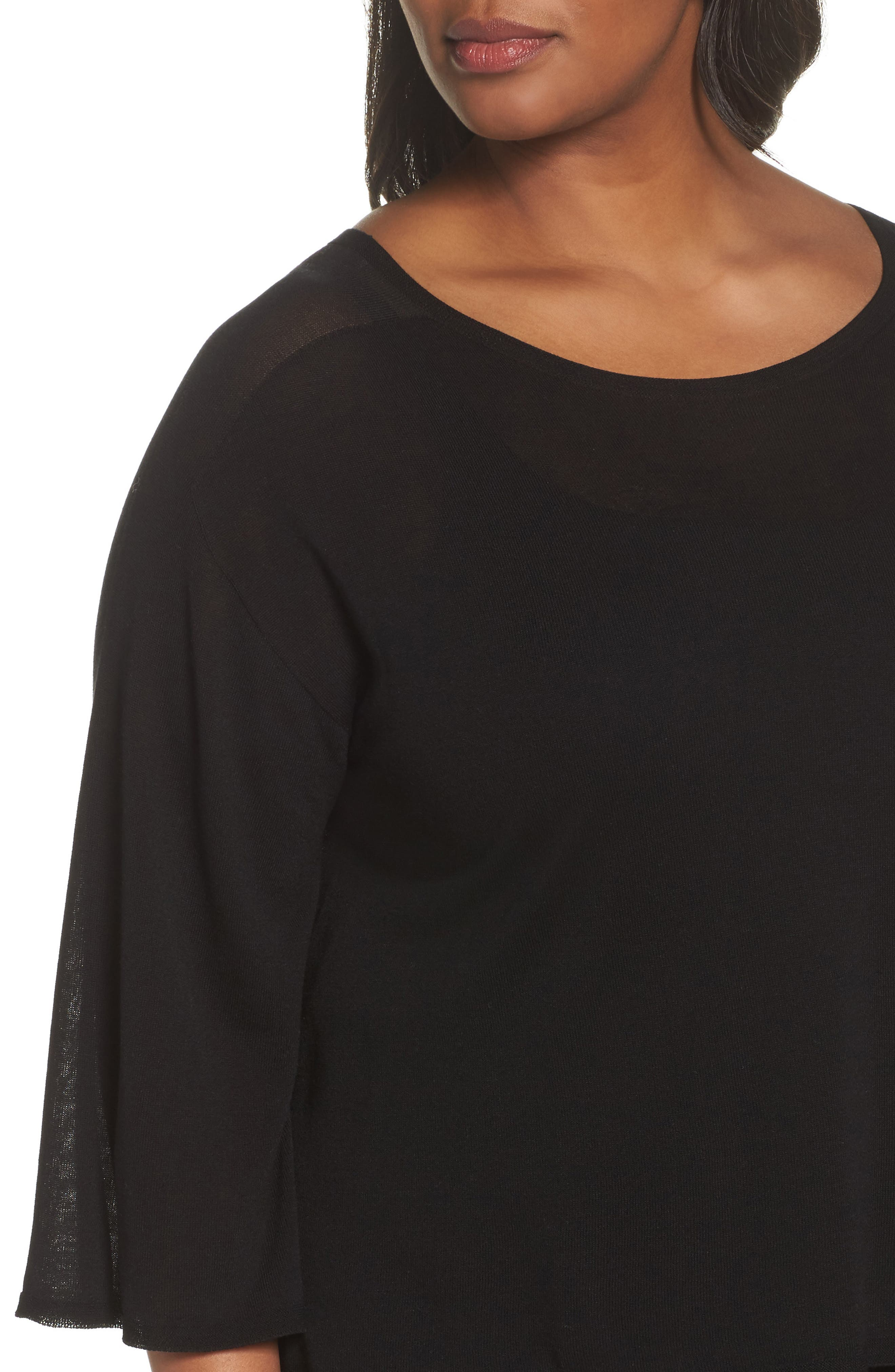 Tencel<sup>®</sup> Lyocell Lyocell Knit Sweater,                             Alternate thumbnail 4, color,                             Black