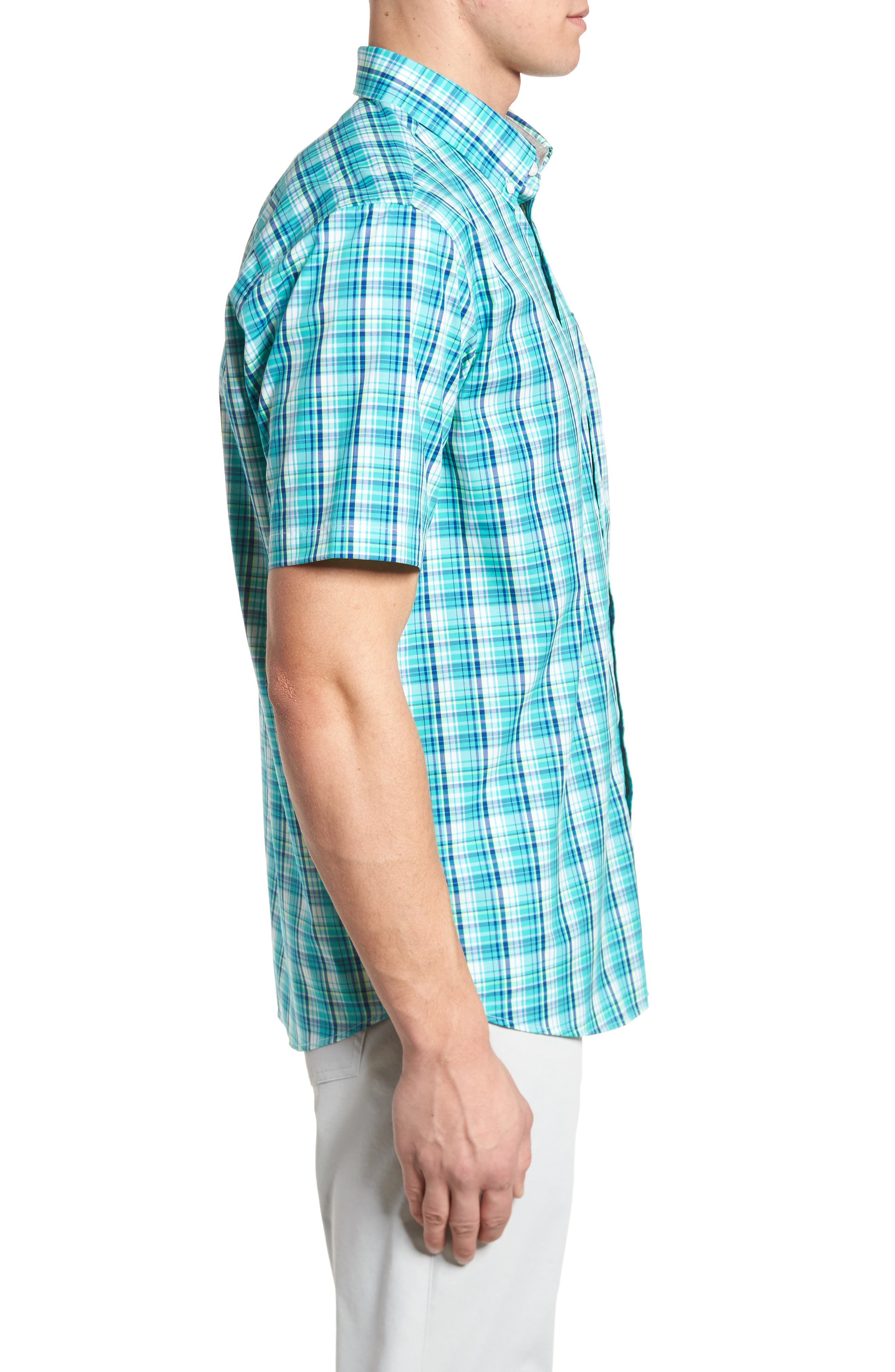 Tobias Non-Iron Plaid Woven Shirt,                             Alternate thumbnail 3, color,                             Newport