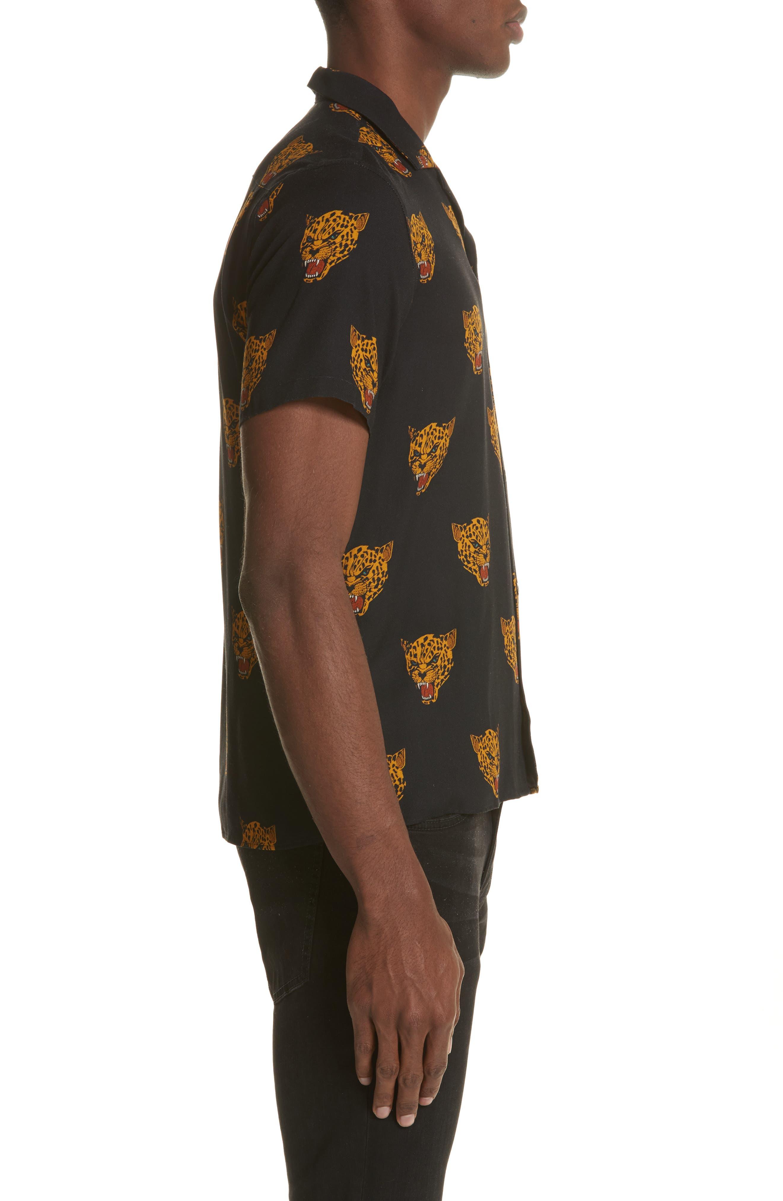 Tiger Print Camp Shirt,                             Alternate thumbnail 4, color,                             Black