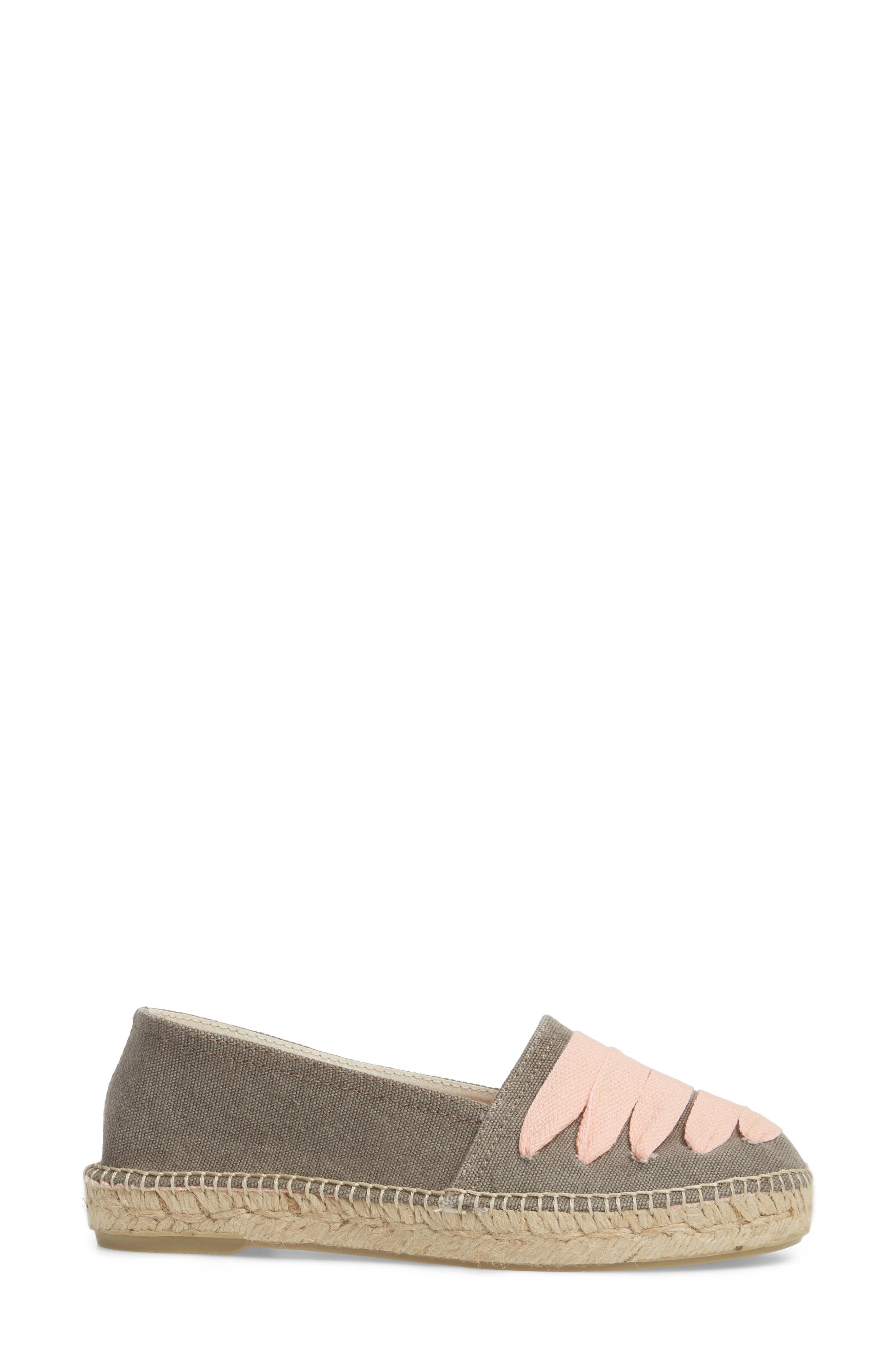 Rubi Espadrille Flat,                             Alternate thumbnail 3, color,                             Gris/ Rosa Fabric