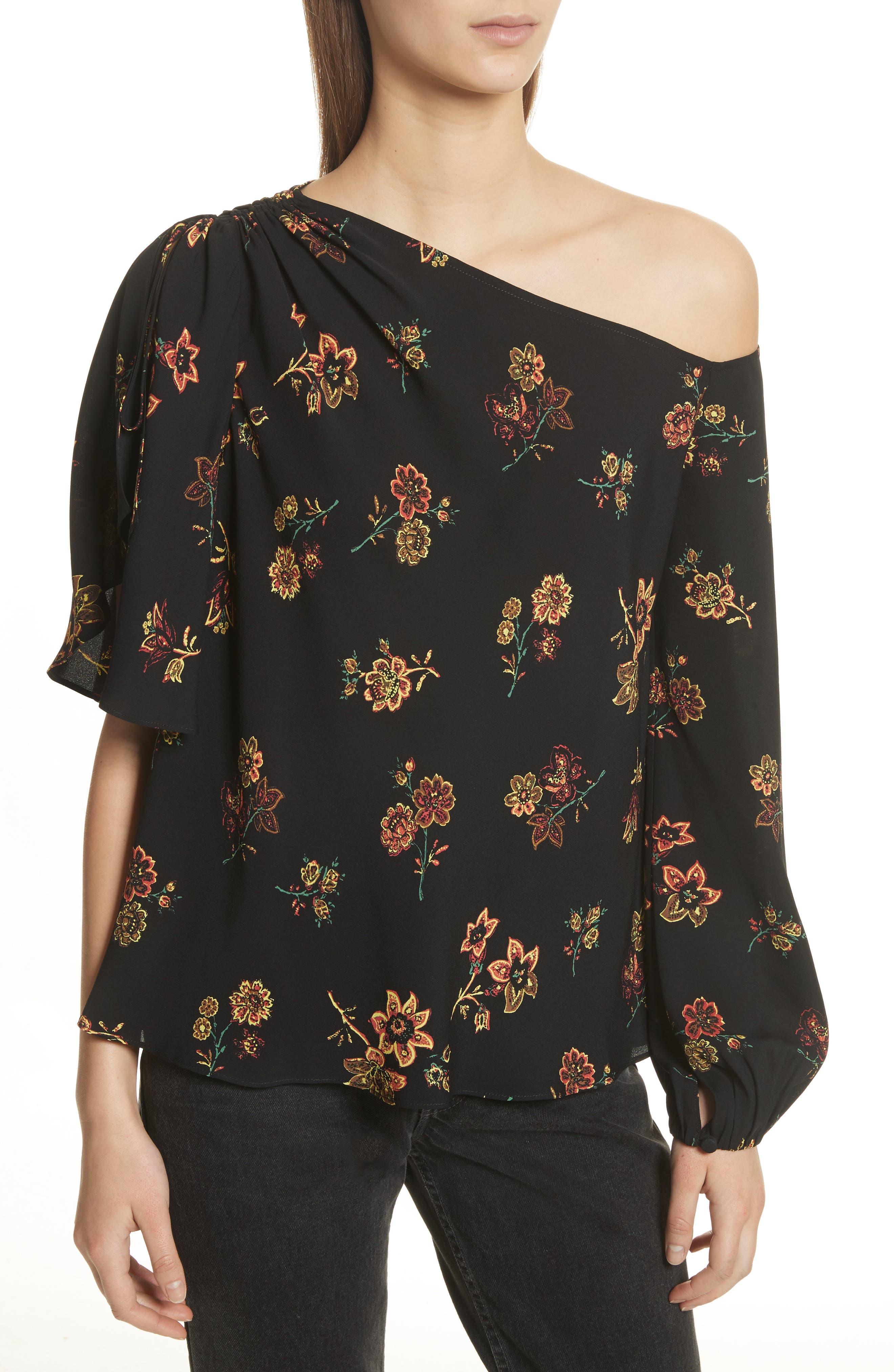 A.L.C. Marissa One-Shoulder Silk Top