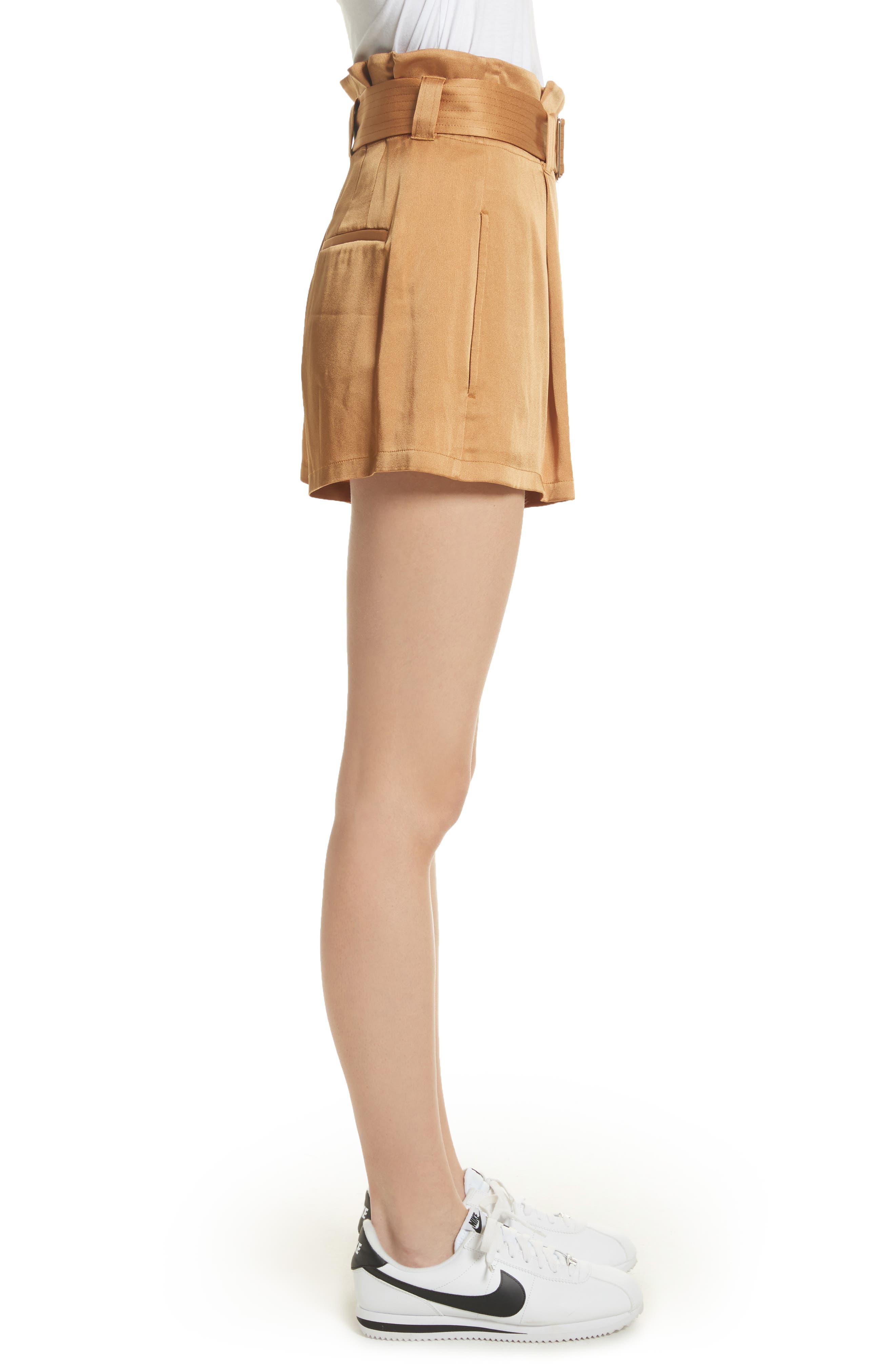 Deliah Paperbag Waist Shorts,                             Alternate thumbnail 3, color,                             Caramel