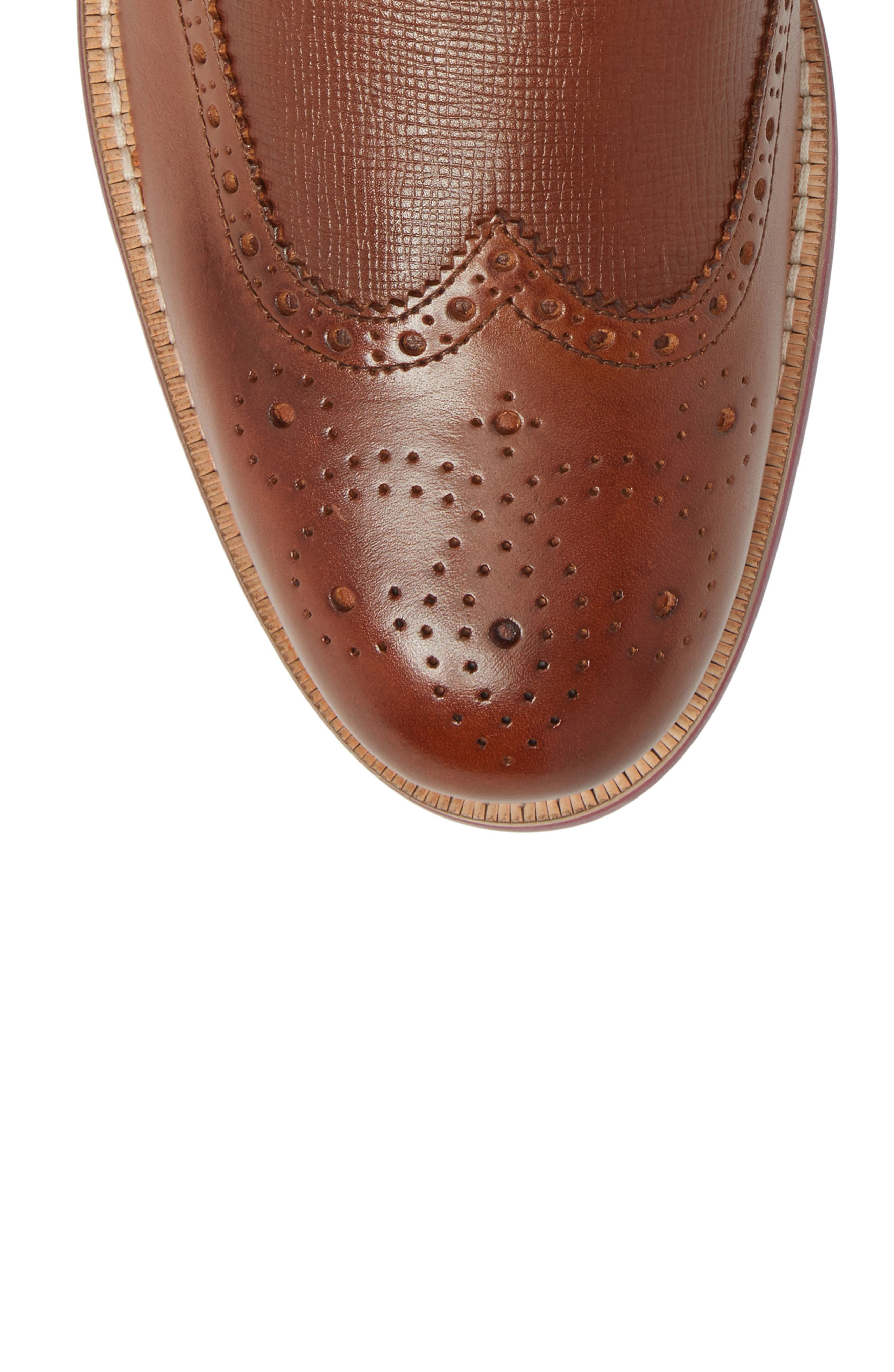 Hjenno Wingtip Boot,                             Alternate thumbnail 5, color,                             Tan Leather