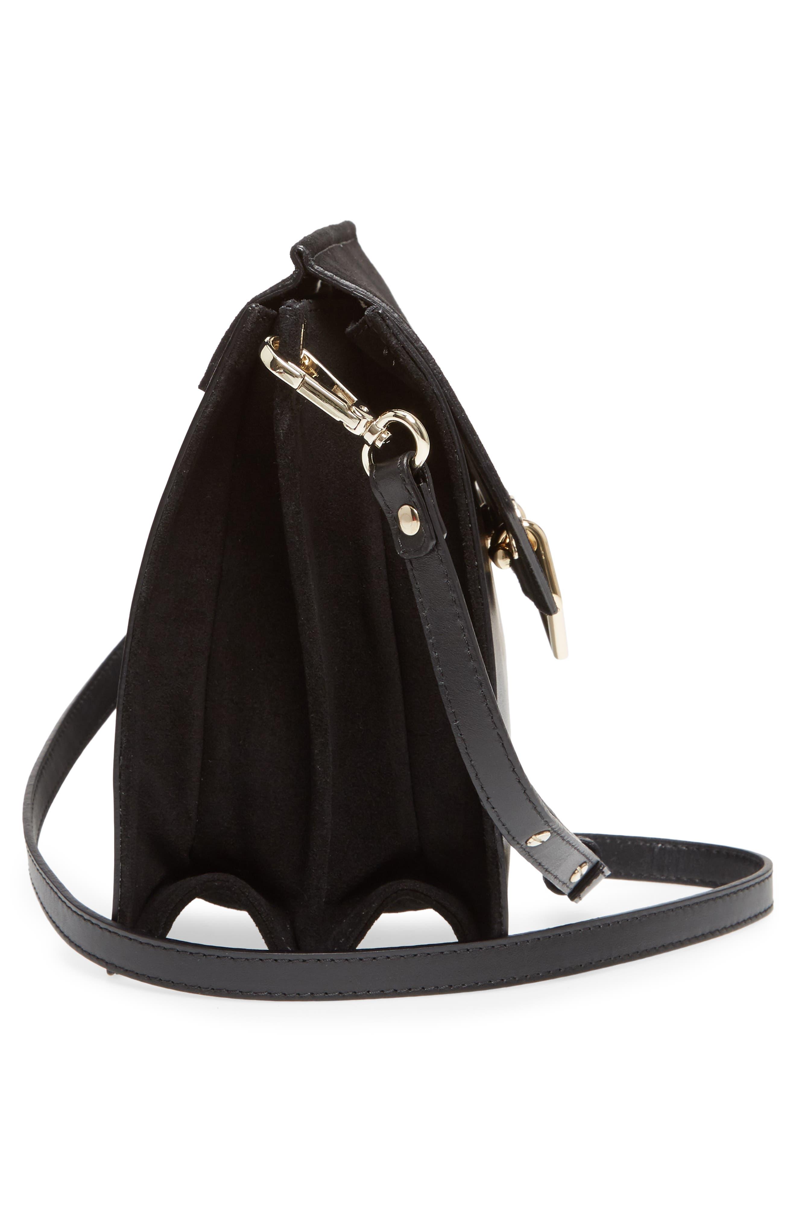 Premium Leather & Suede Soko Shoulder Bag,                             Alternate thumbnail 4, color,                             Black