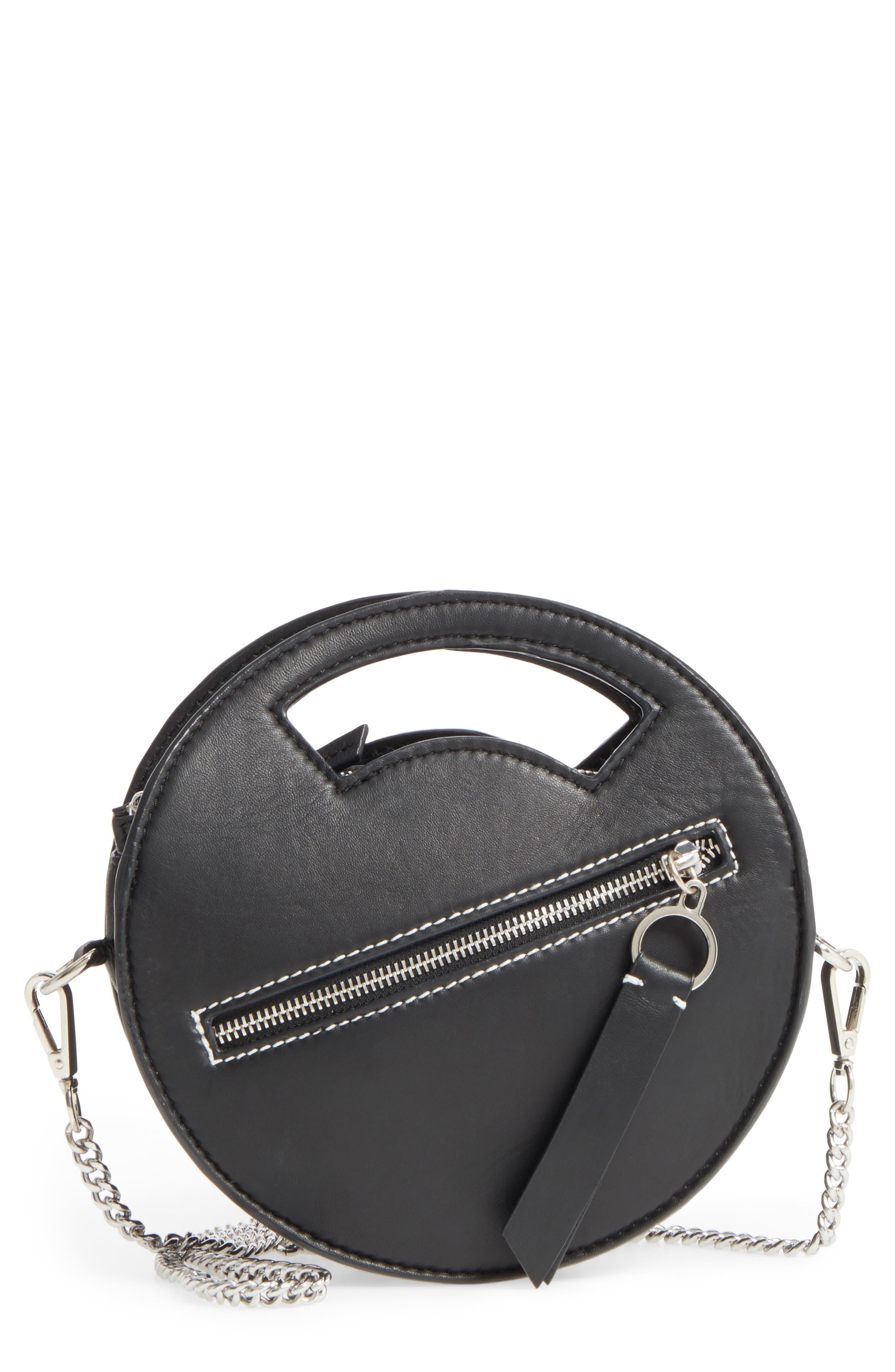 Premium Leather Mini Circle Crossbody Bag,                             Main thumbnail 1, color,                             Black