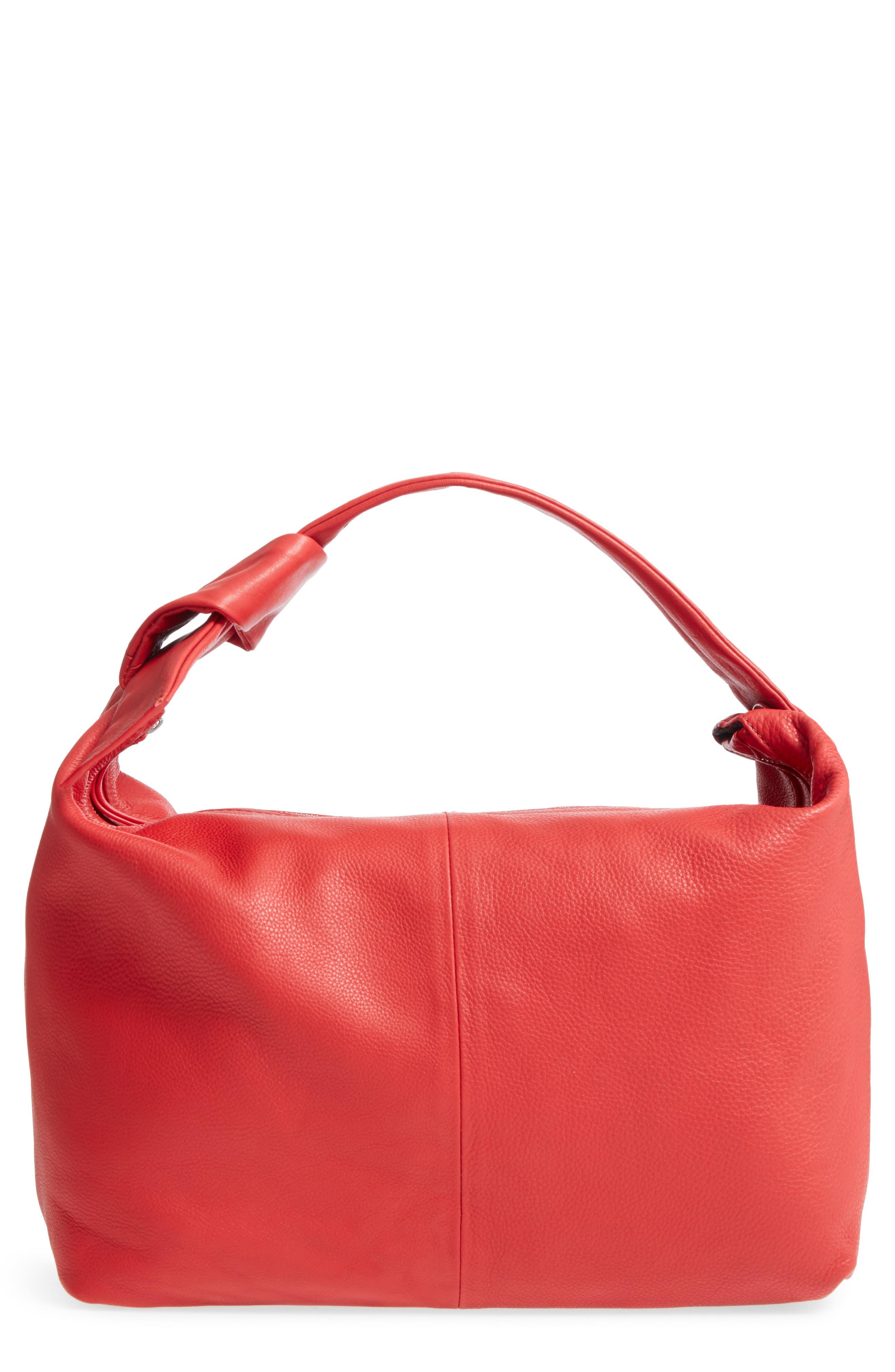 Premium Leather Jasmine Hobo Bag,                         Main,                         color, Red