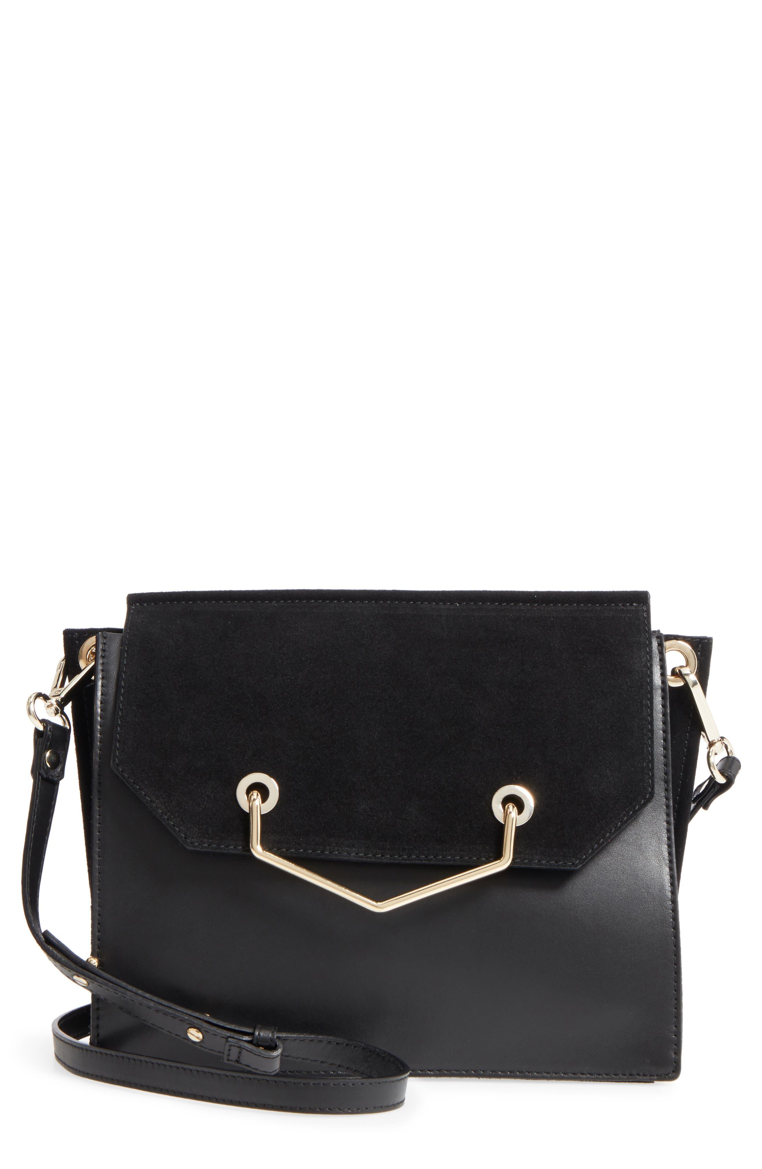 Premium Leather & Suede Soko Shoulder Bag,                             Main thumbnail 1, color,                             Black