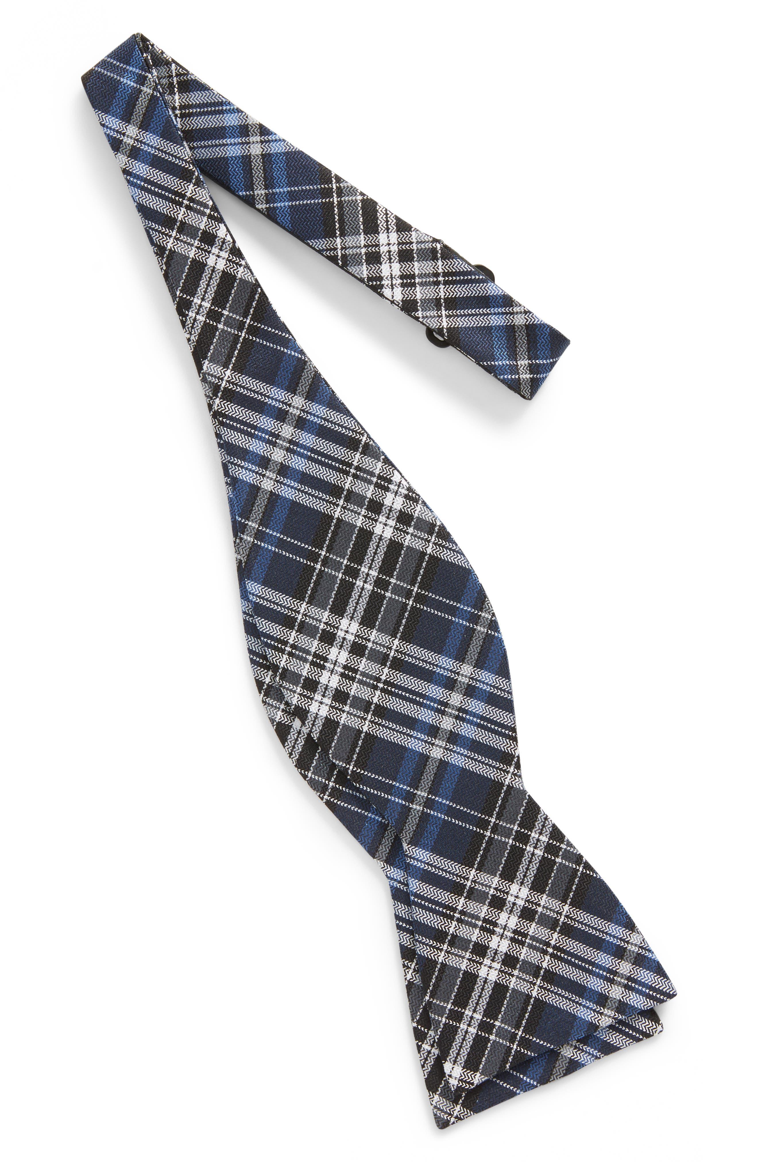 Motley Plaid Silk Bow Tie,                             Alternate thumbnail 2, color,                             Navy