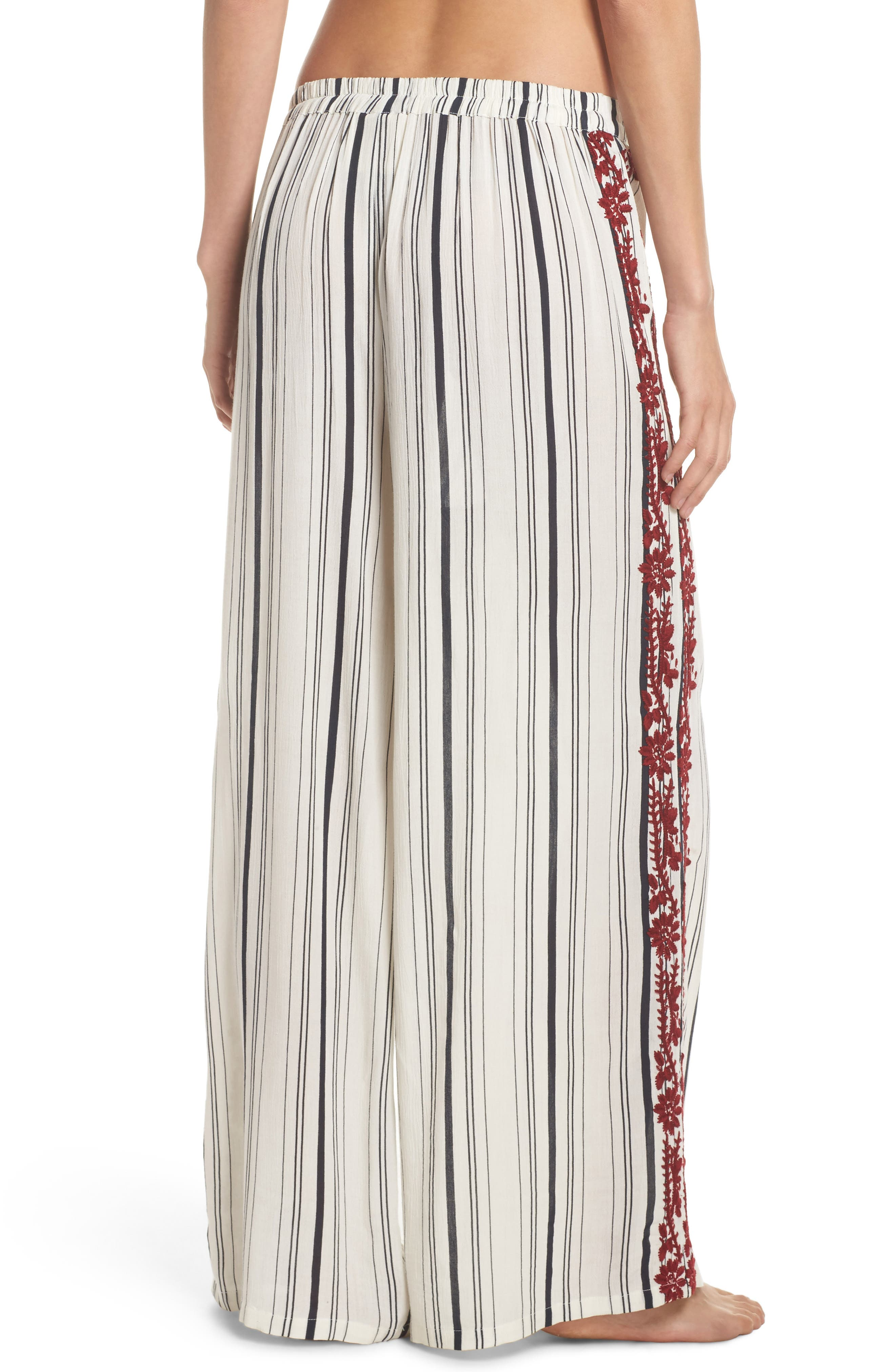 Arielle Stripe Cover-Up Pants,                             Alternate thumbnail 2, color,                             White/ Navy