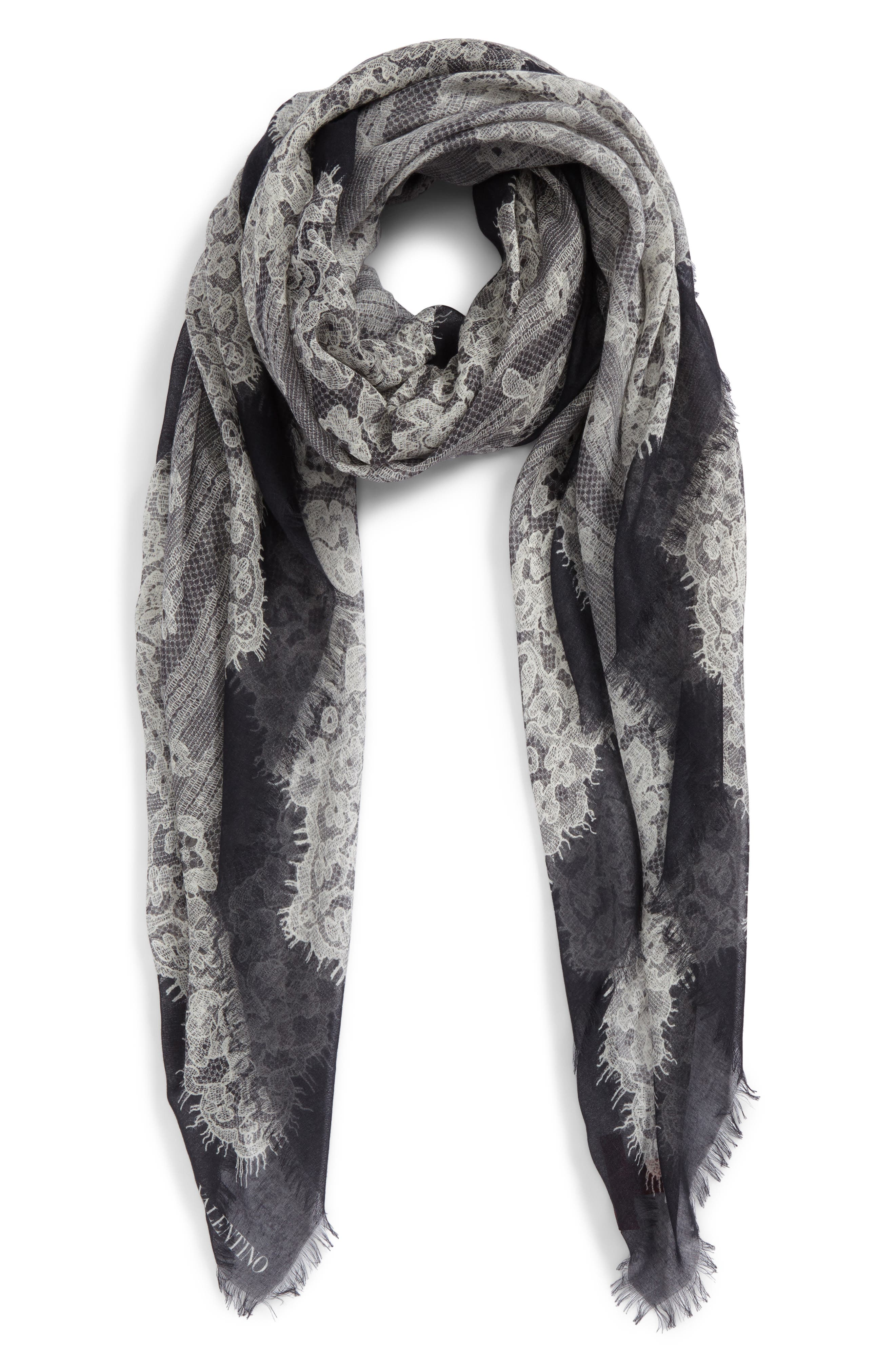 GARAVANI Grand Hauteur Lace Print Wrap,                             Alternate thumbnail 2, color,                             0No Nero