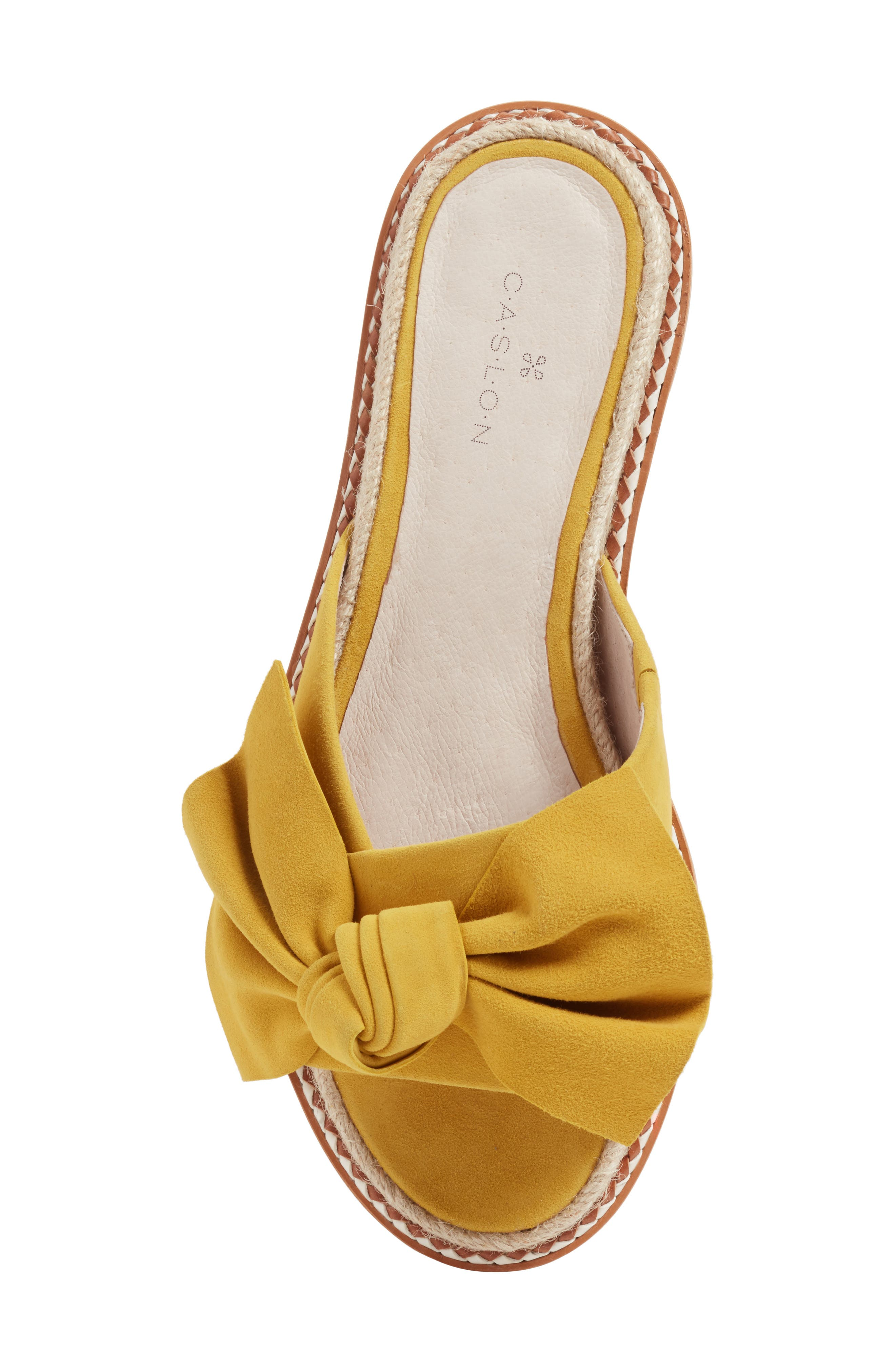 Darcie Slide Sandal,                             Alternate thumbnail 5, color,                             Mustard Suede