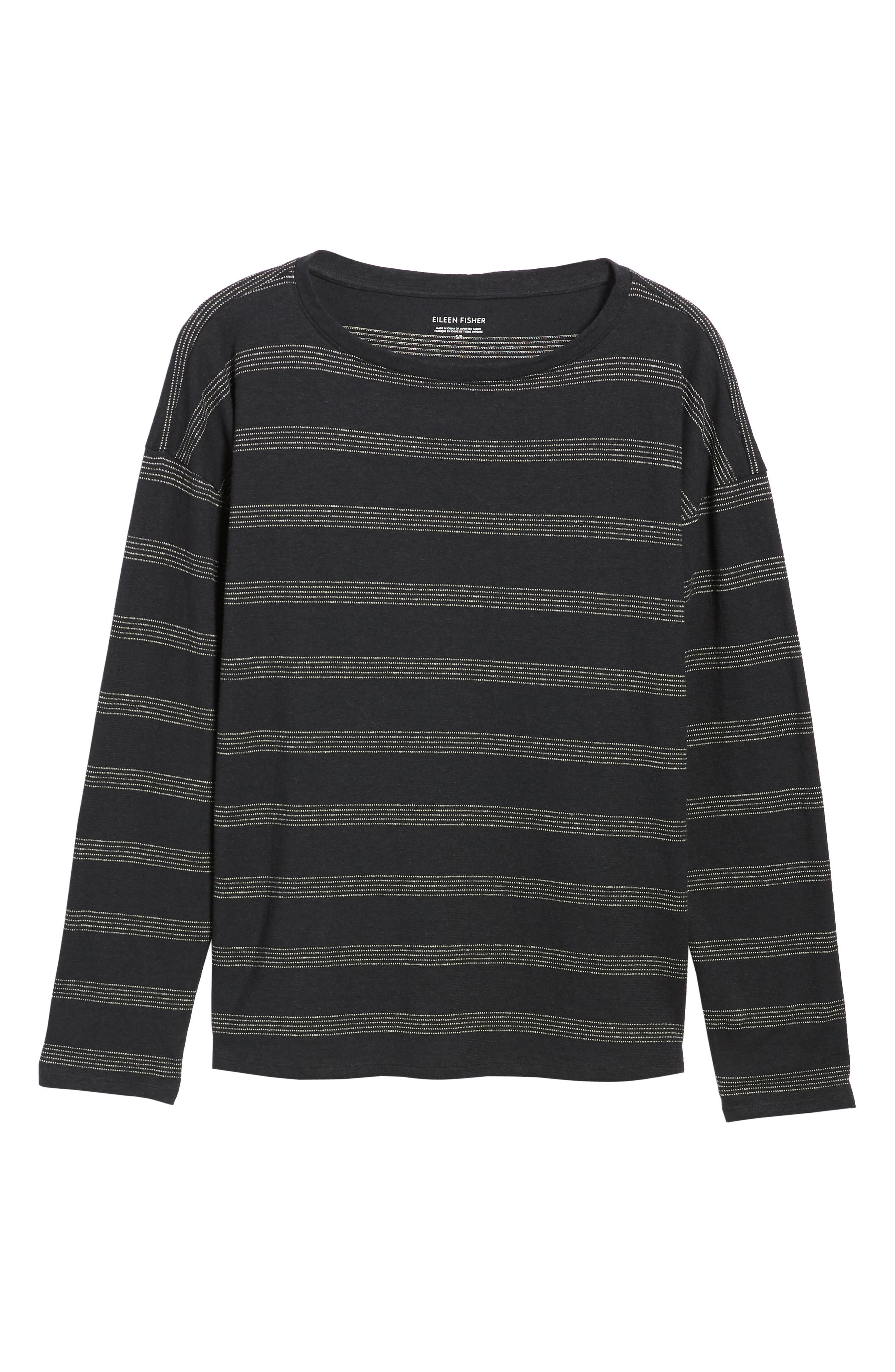 Stripe Hemp & Organic Cotton Top,                             Alternate thumbnail 6, color,                             Black