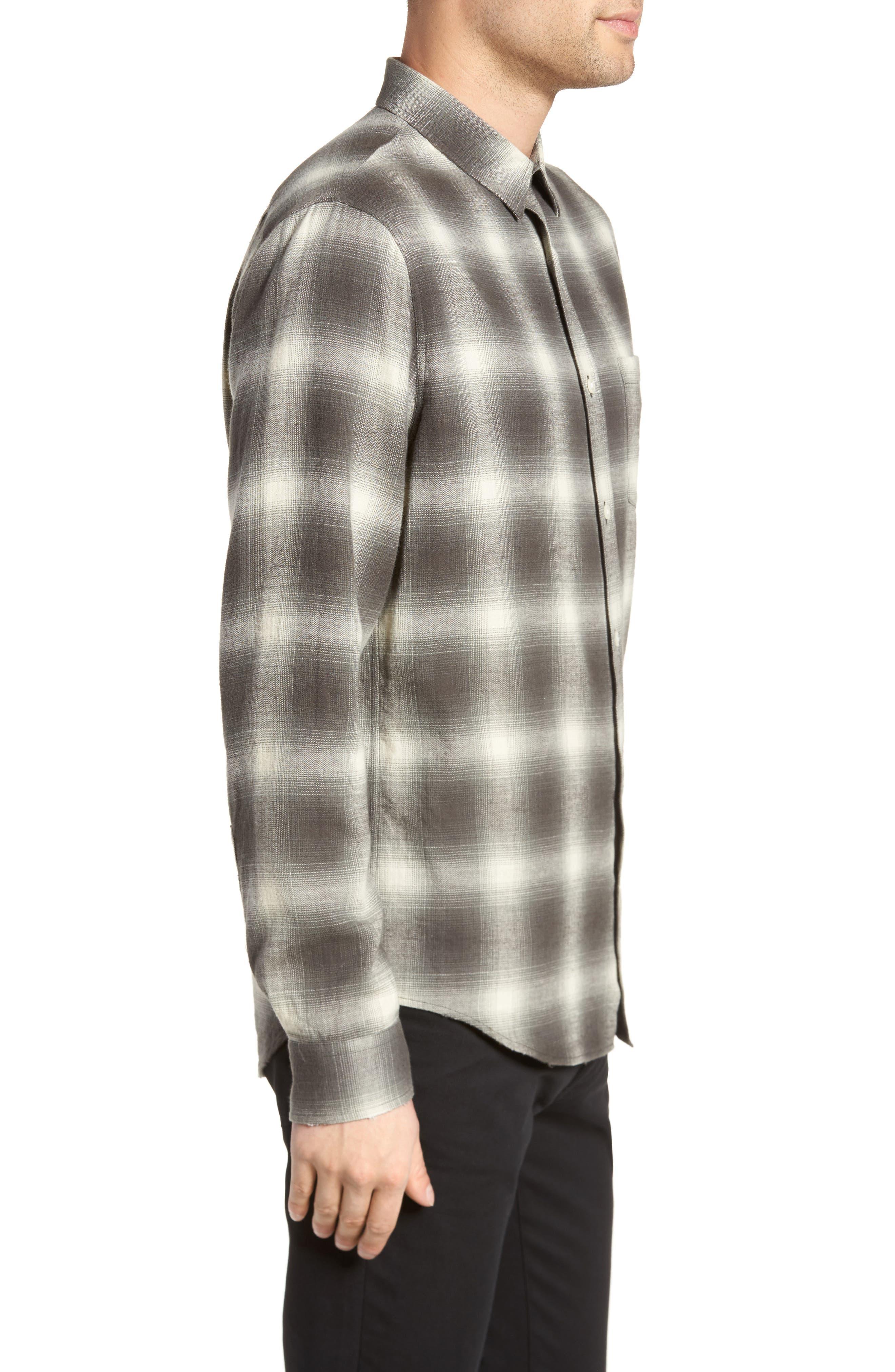 Shadow Plaid Sport Shirt,                             Alternate thumbnail 4, color,                             Grey