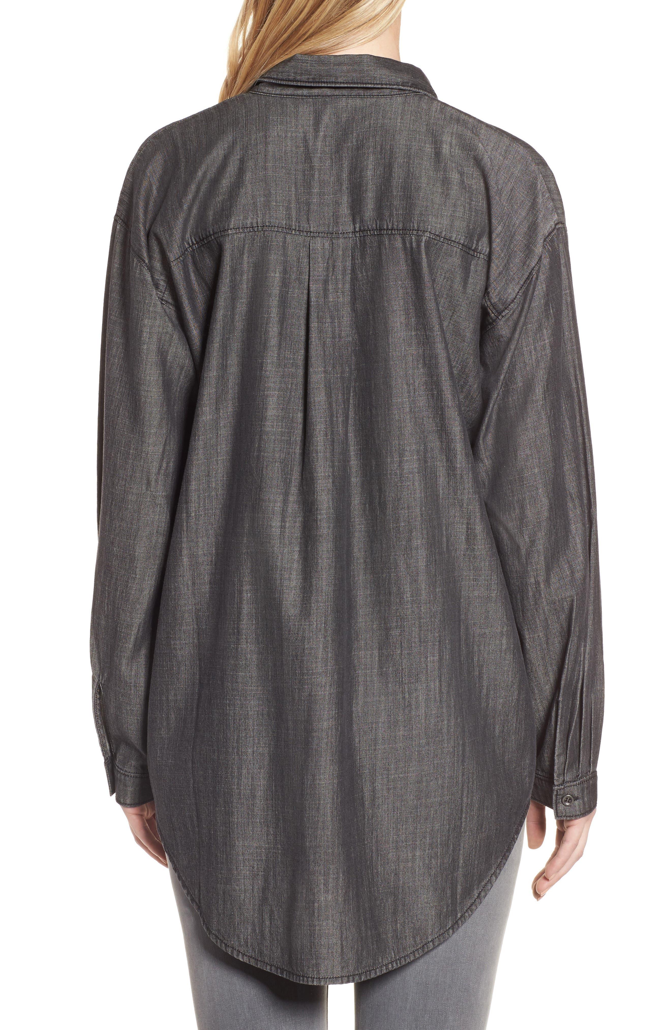 Tencel<sup>®</sup> Lyocell & Organic Cotton Tunic Shirt,                             Alternate thumbnail 2, color,                             Black