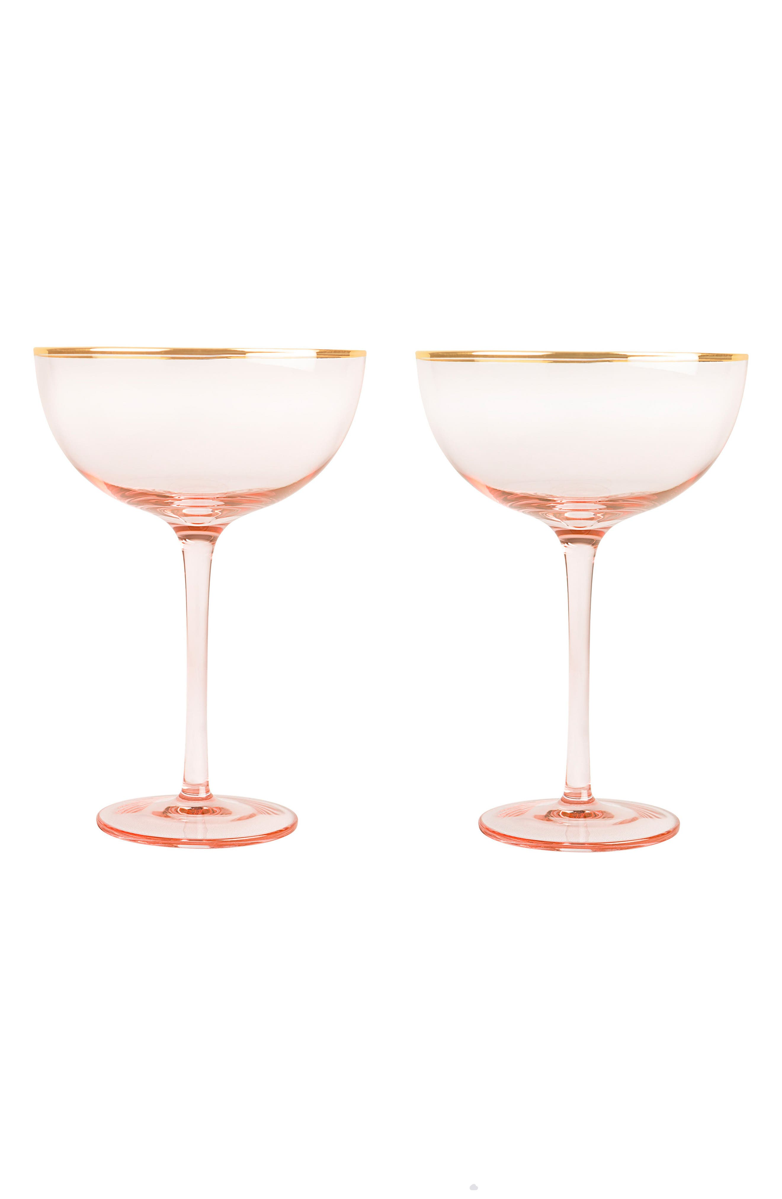 Monogram Set of 2 Champagne Coupes,                             Main thumbnail 1, color,                             Blush