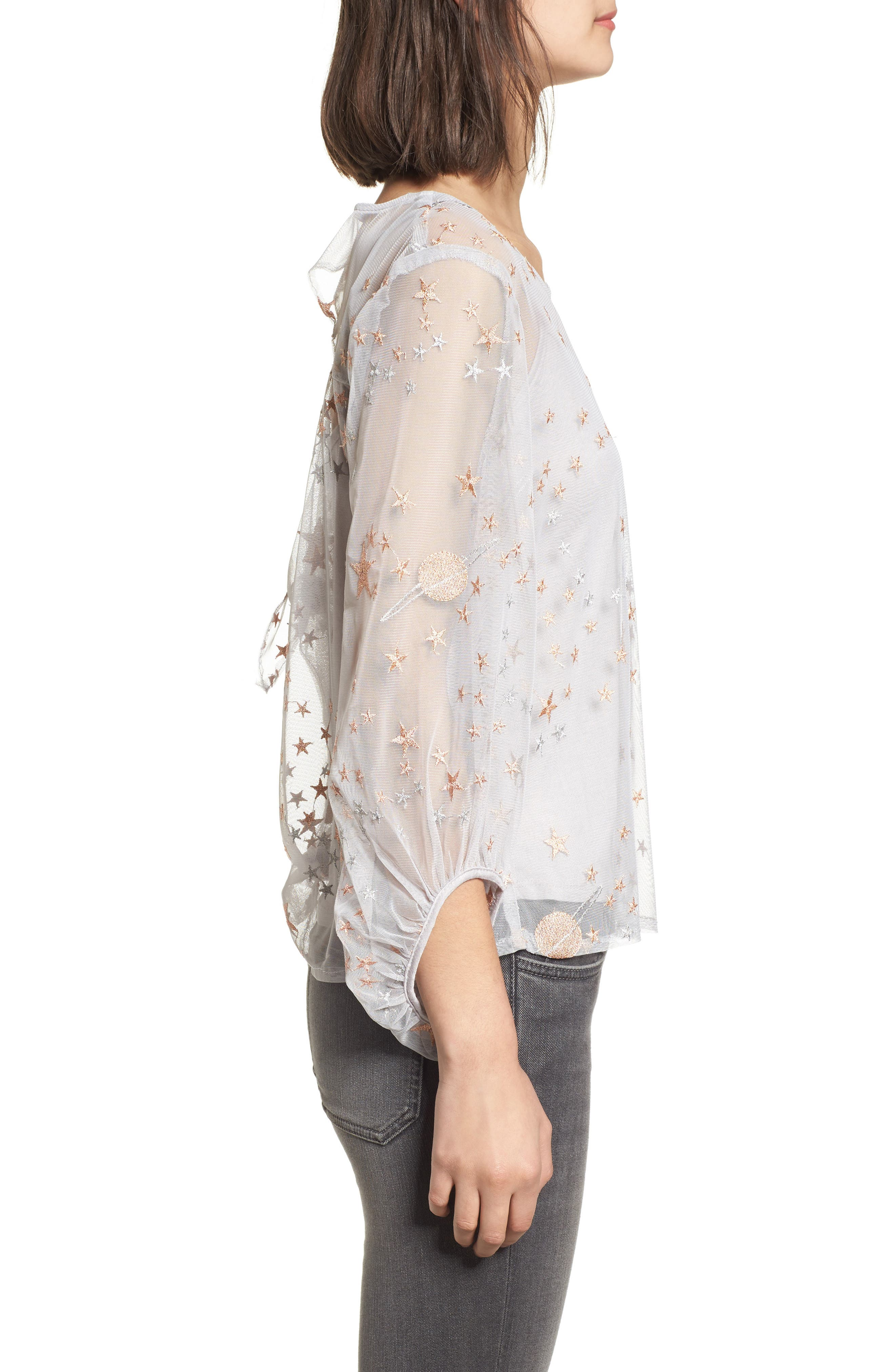 Embroidered Top,                             Alternate thumbnail 3, color,                             Silver