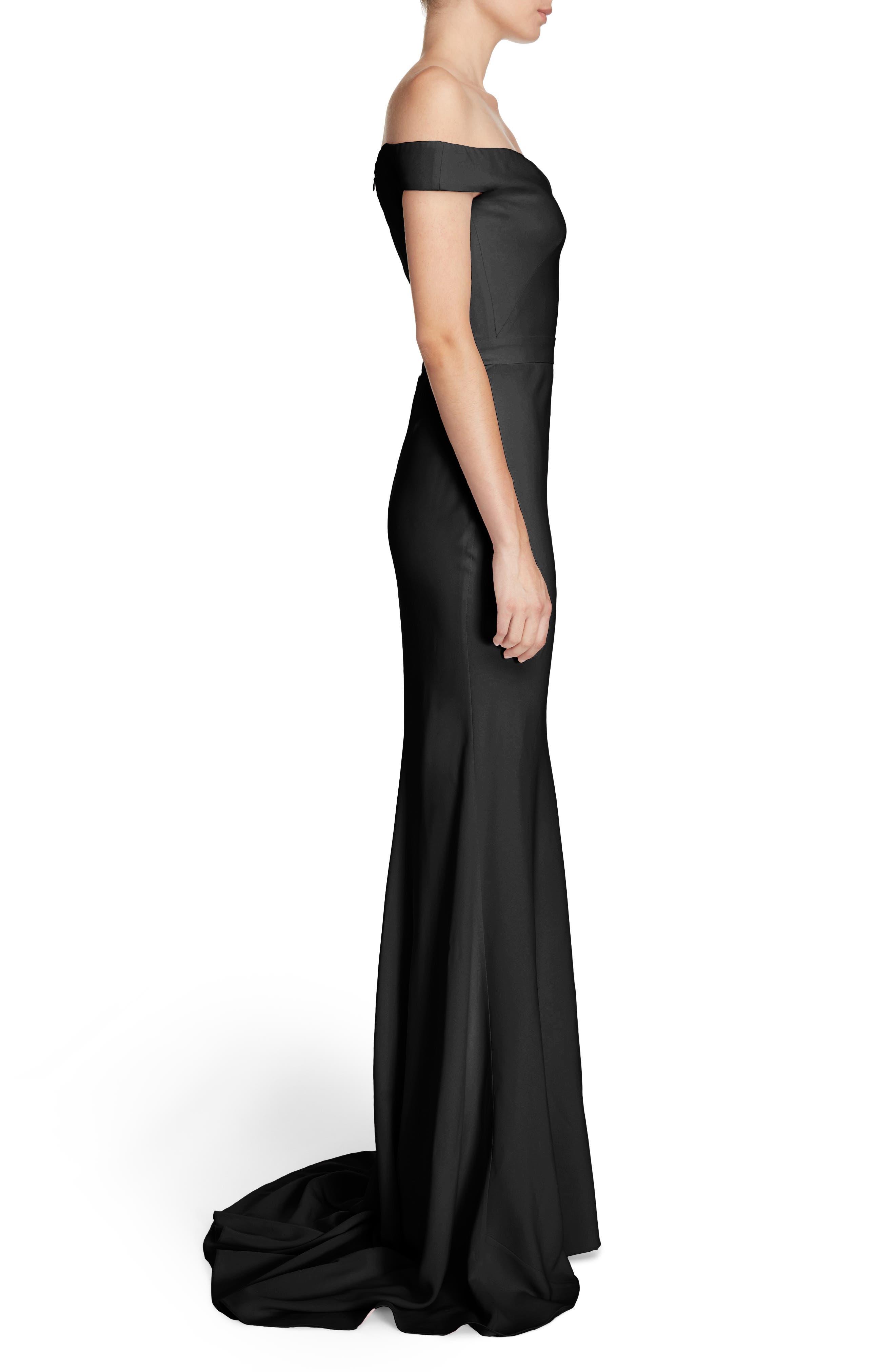 Crepe Off the Shoulder Gown,                             Alternate thumbnail 3, color,                             Black