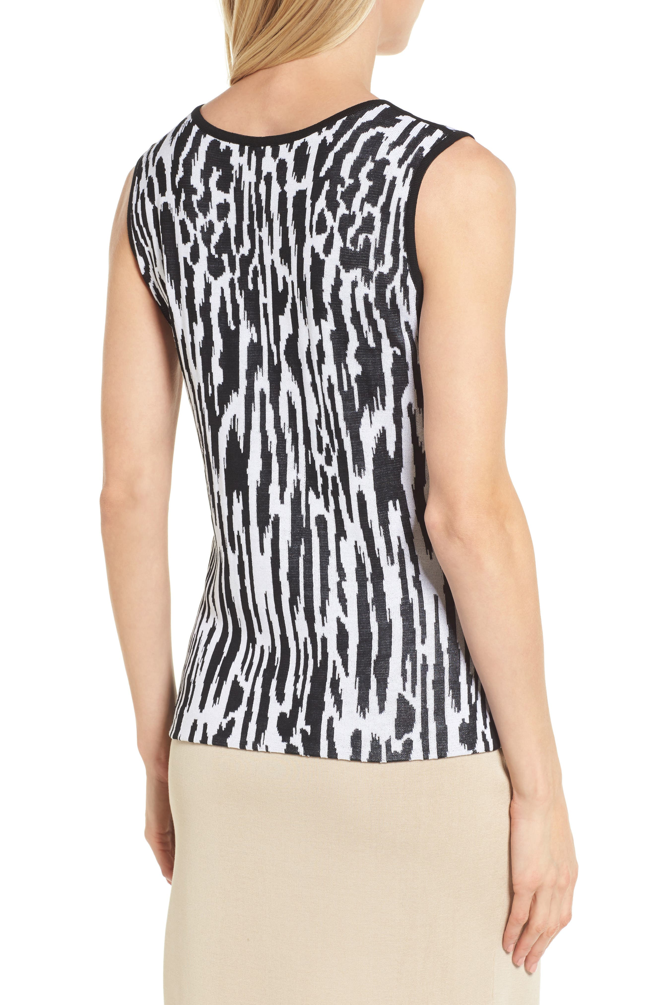 Animal Pattern Knit Tank,                             Alternate thumbnail 2, color,                             Black/ White