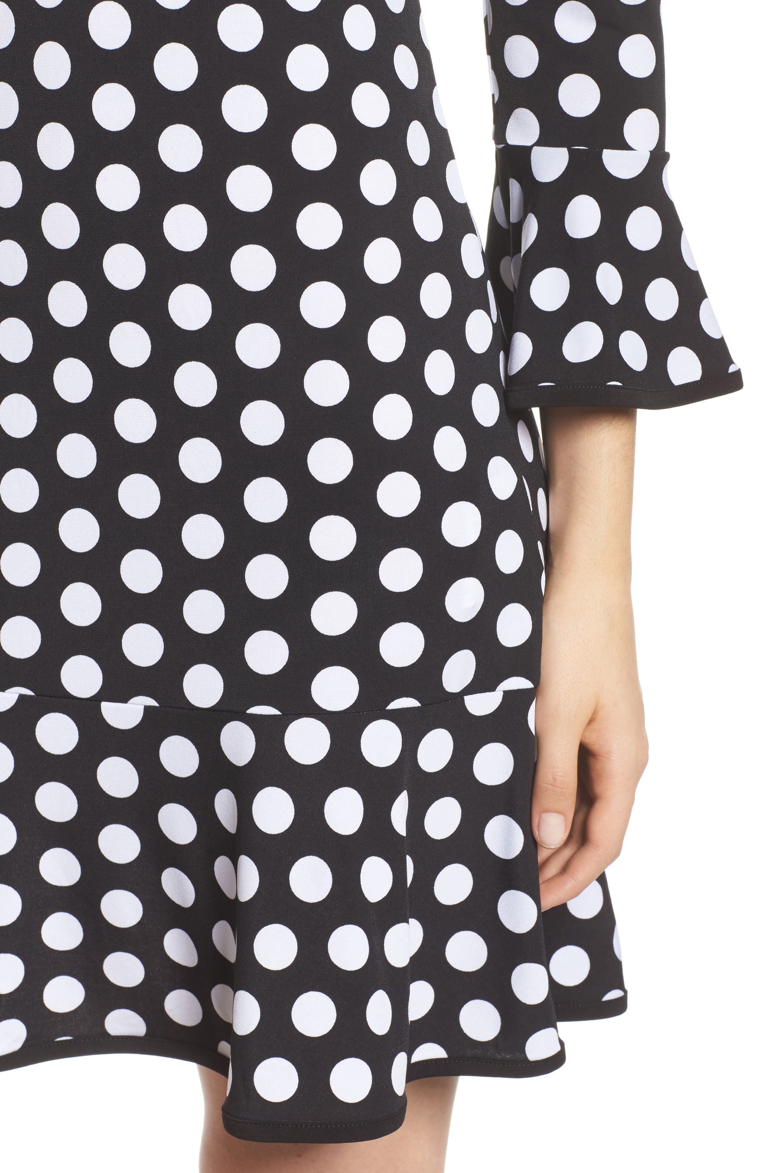 Simple Dot Swing Dress,                             Alternate thumbnail 4, color,                             Black/ White