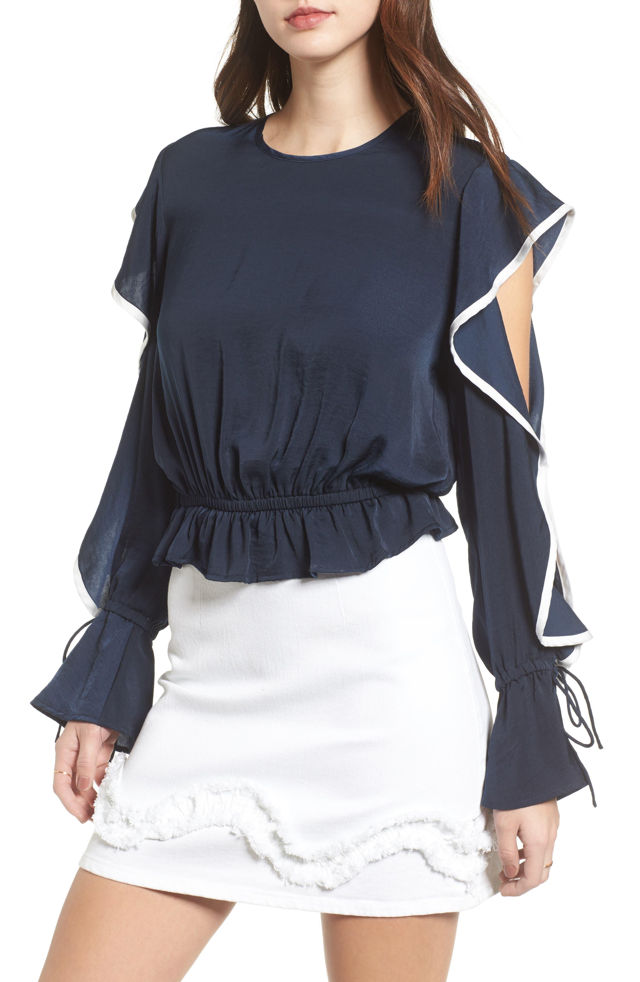 Juliette Cold Shoulder Ruffle Top,                         Main,                         color, Navy