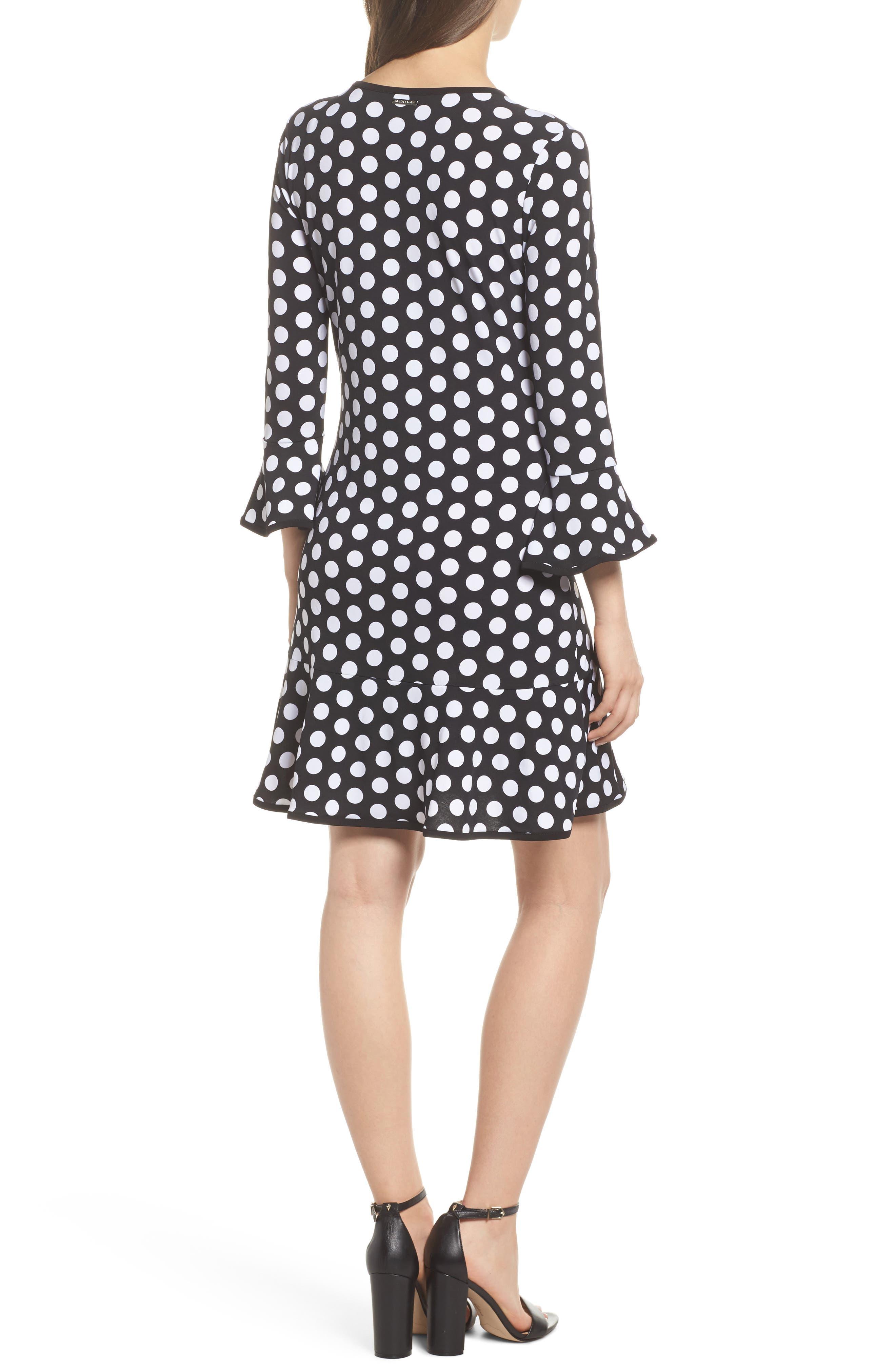 Simple Dot Swing Dress,                             Alternate thumbnail 2, color,                             Black/ White