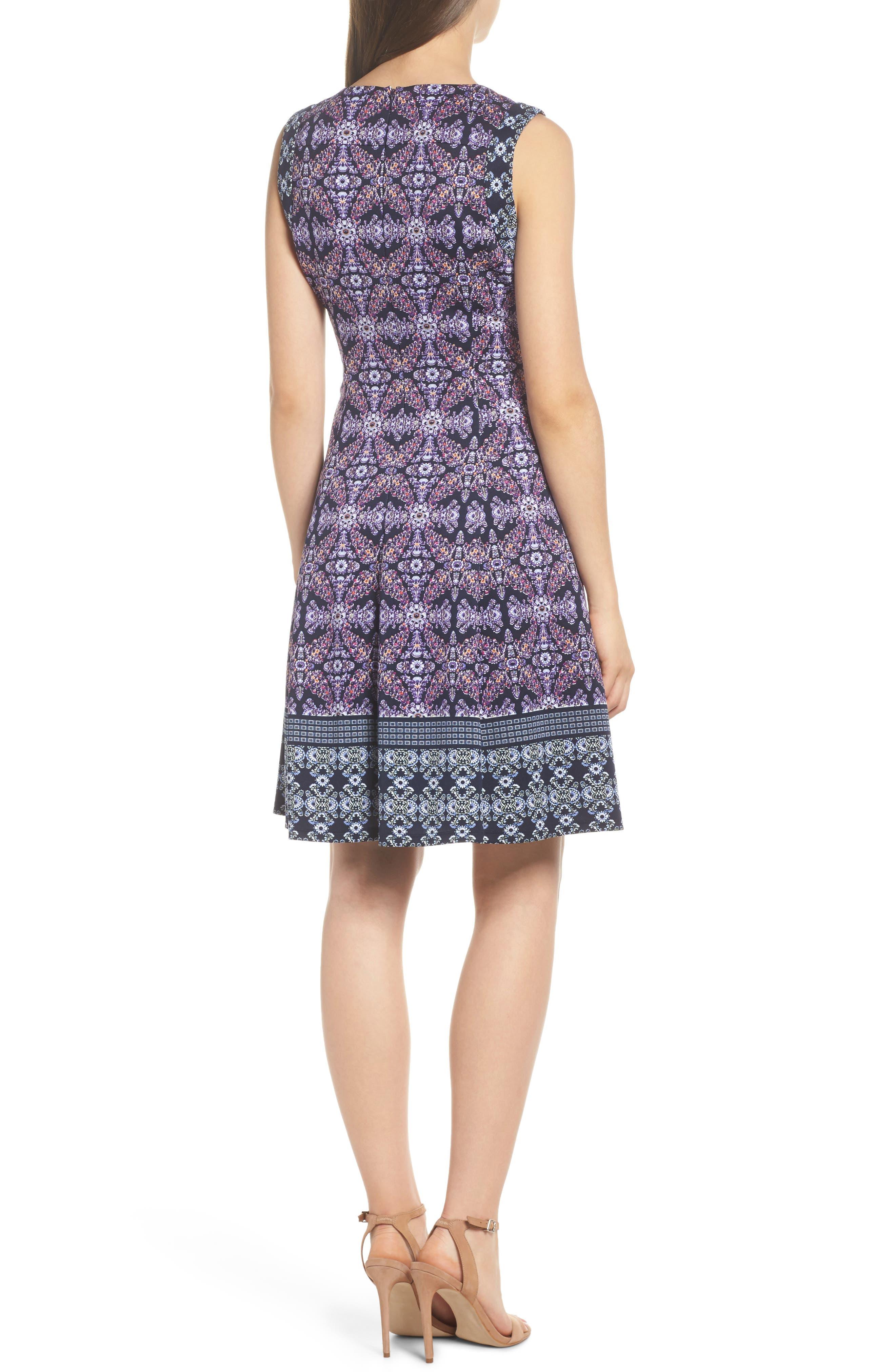 Scuba Fit & Flare Dress,                             Alternate thumbnail 2, color,                             Navy/ Lavender