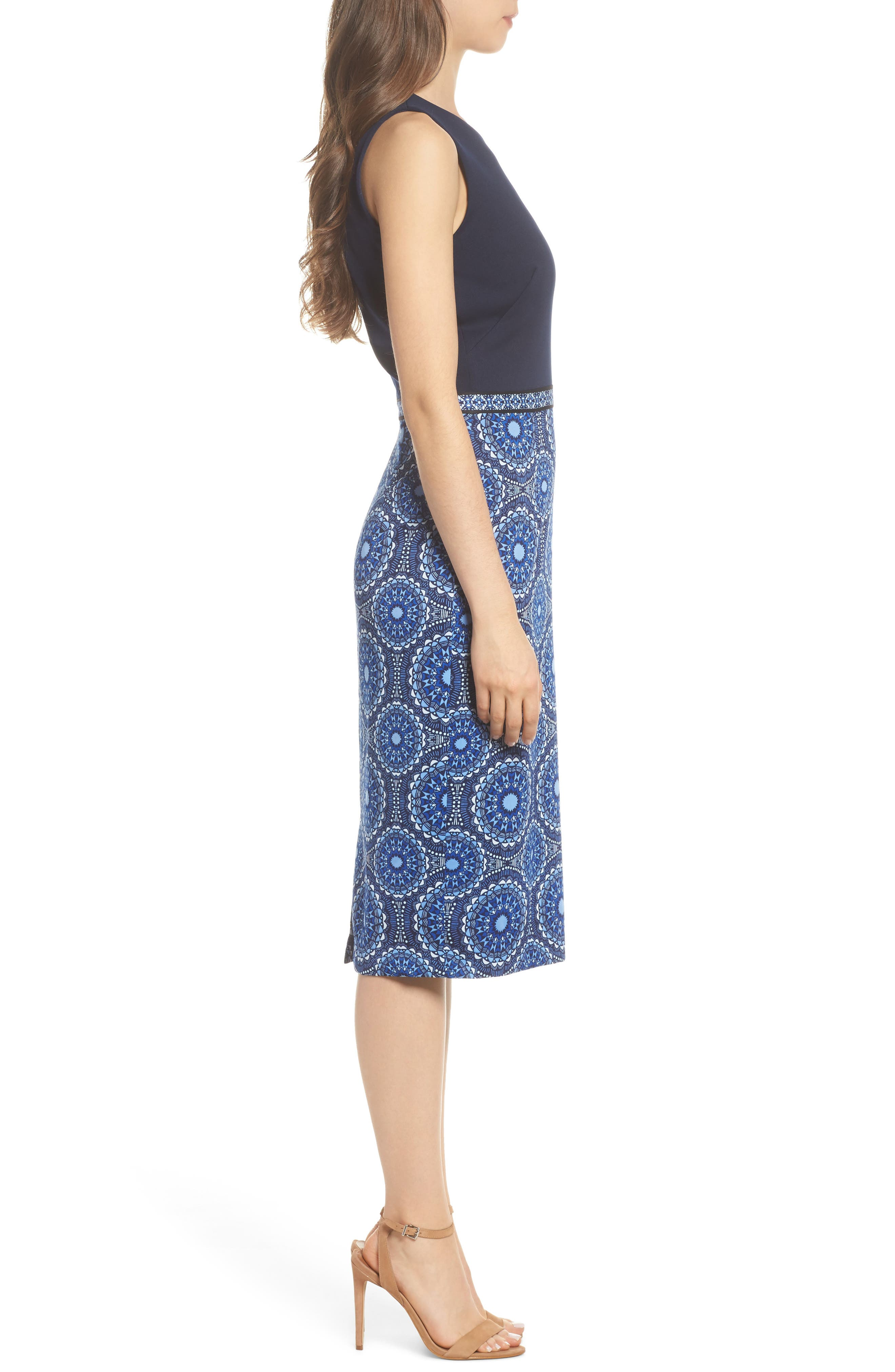 Scuba Sheath Dress,                             Alternate thumbnail 3, color,                             Soft White/ Sky Blue
