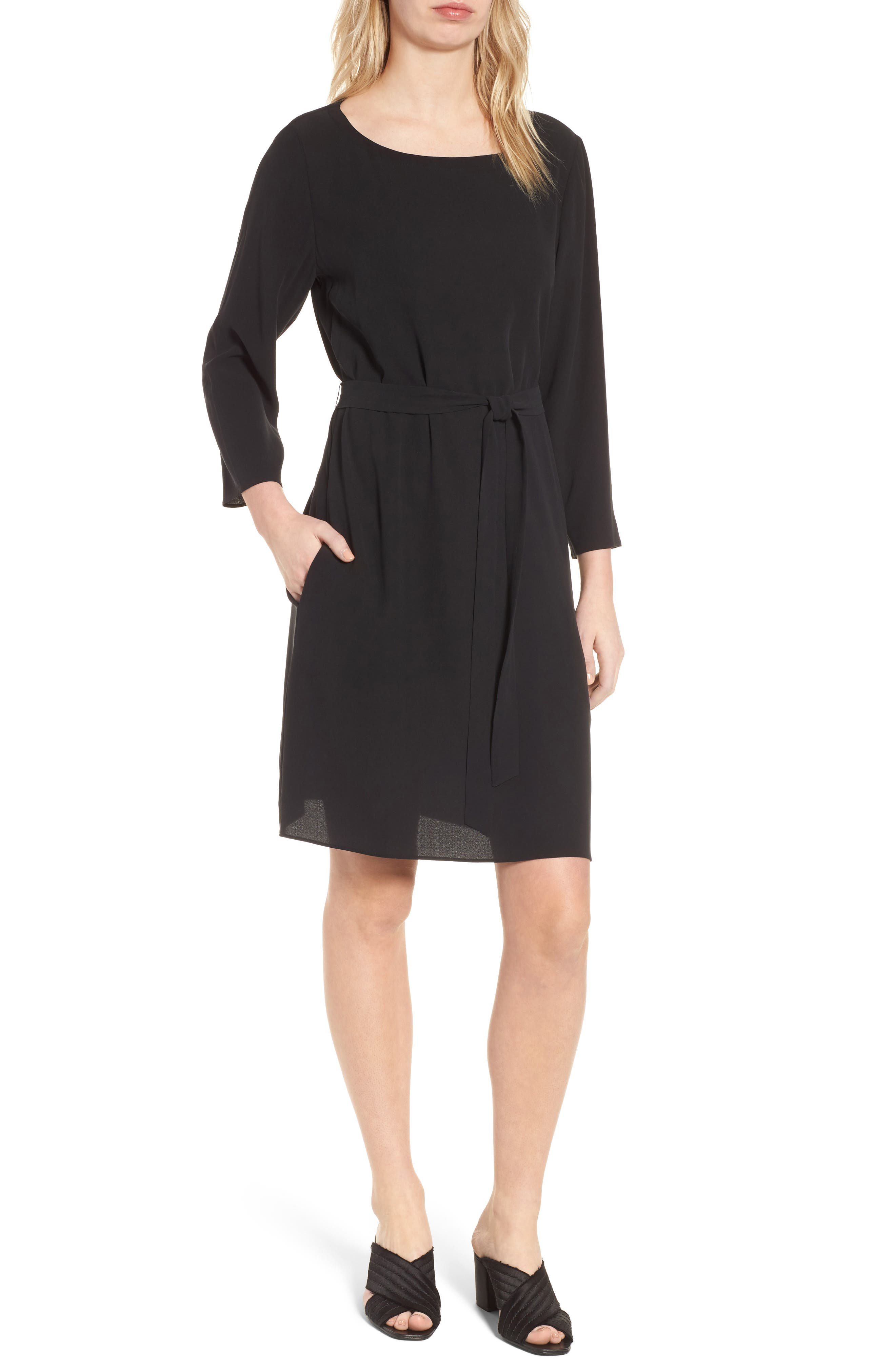 Bateau Neck Silk Dress,                         Main,                         color, Black